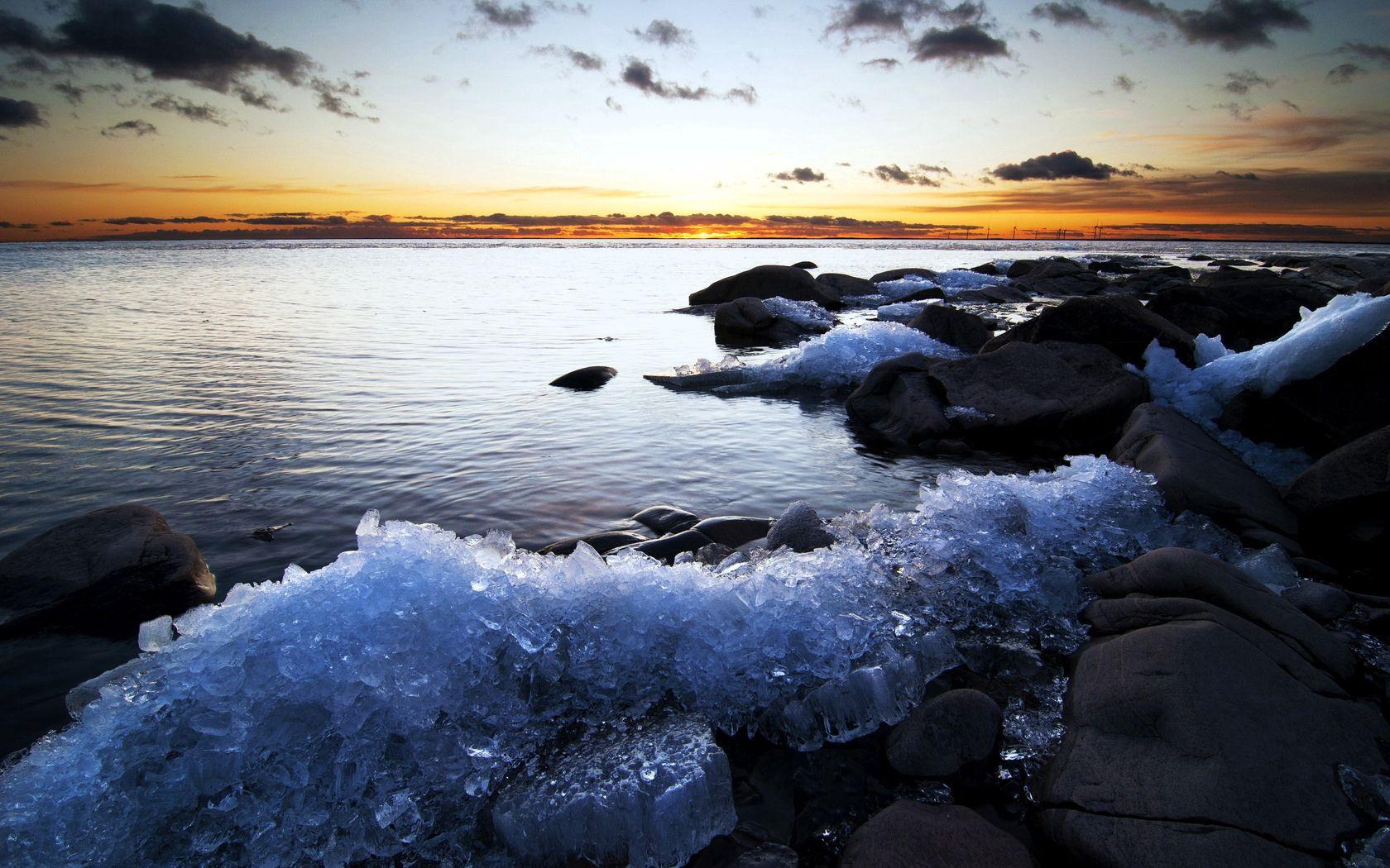 79033 скачать обои Природа, Лед, Берег, Закат, Море, Холод - заставки и картинки бесплатно