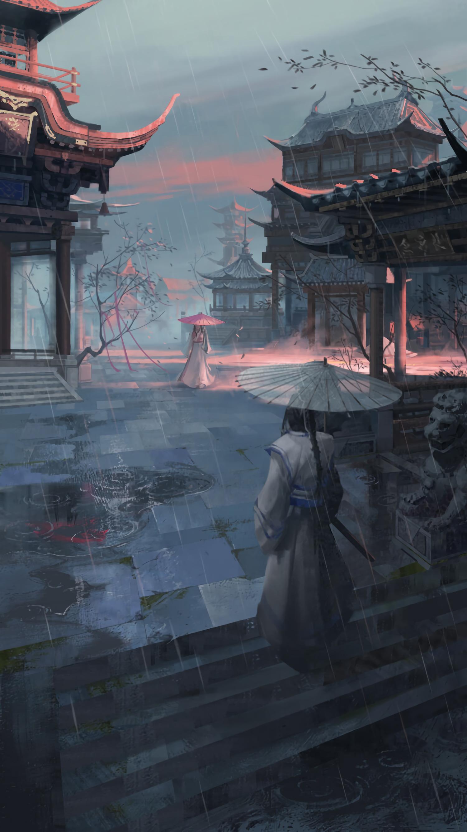 111276 download wallpaper Girls, Pagodas, Pagoda, Rain, Umbrellas, Japan, Art screensavers and pictures for free