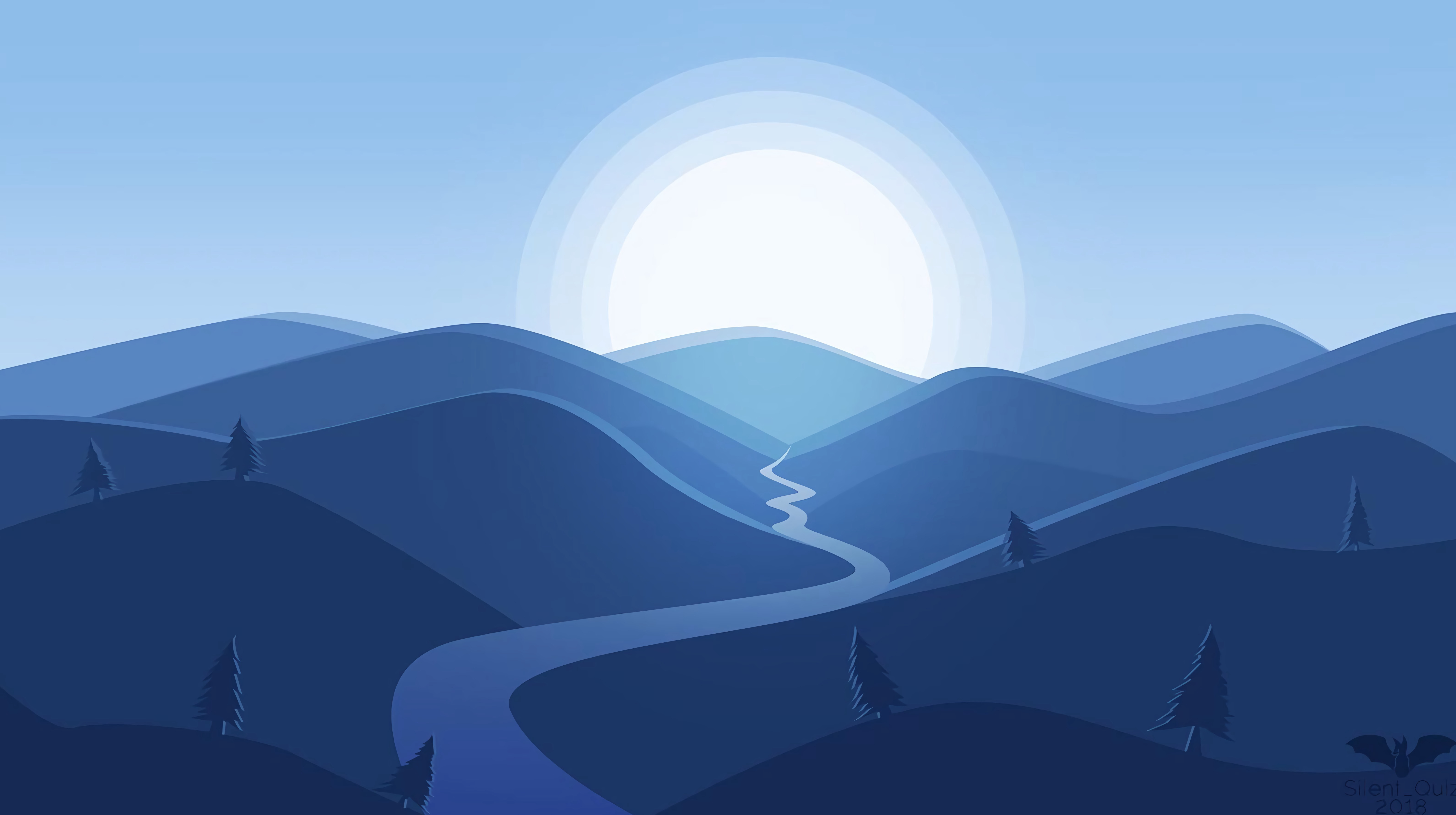 76254 download wallpaper Landscape, Rivers, Art, Mountains, Sun, Vector screensavers and pictures for free