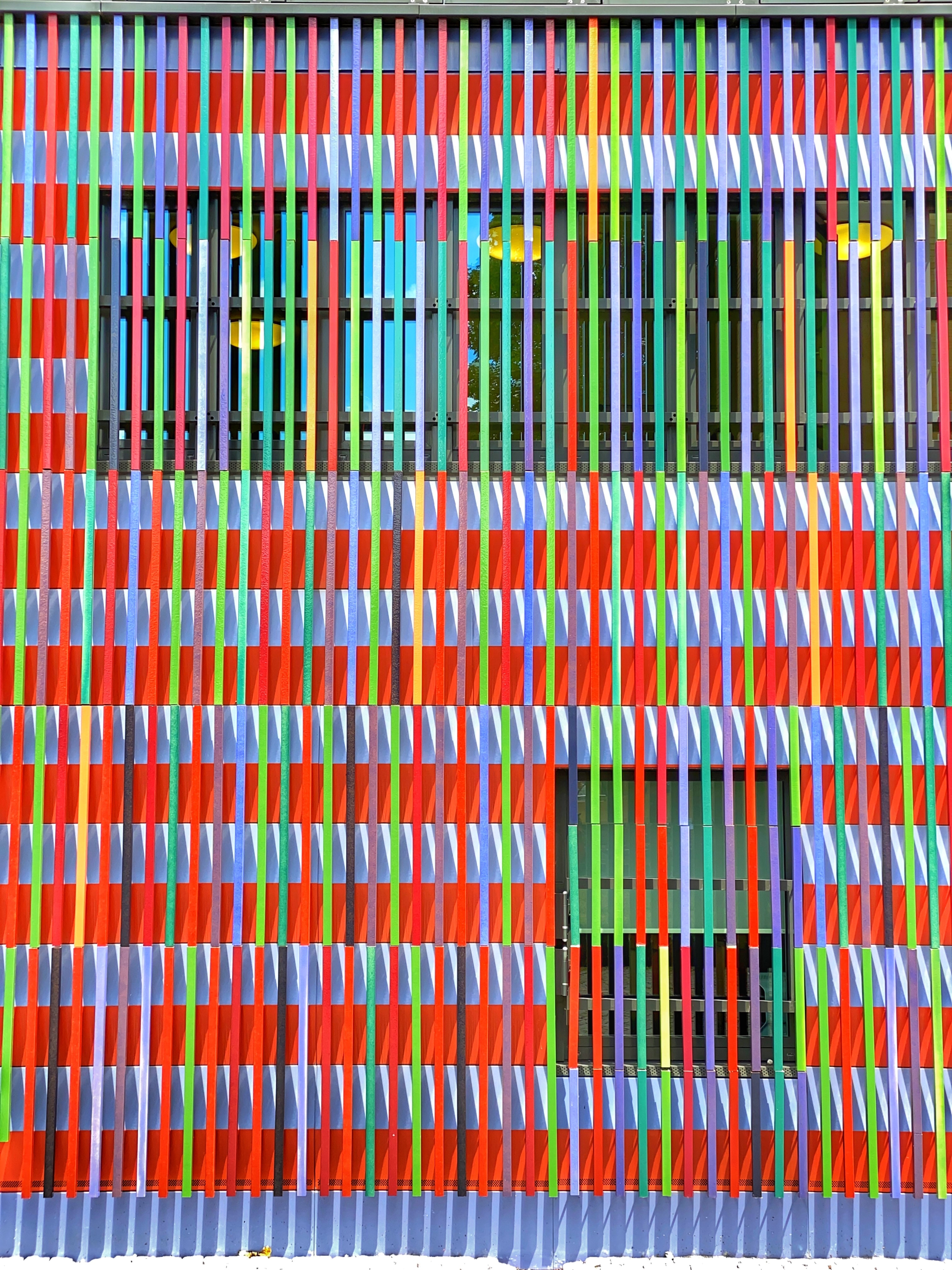 134526 download wallpaper Miscellanea, Miscellaneous, Facade, Window, Multicolored, Motley, Planks, Board, Stripes, Streaks screensavers and pictures for free