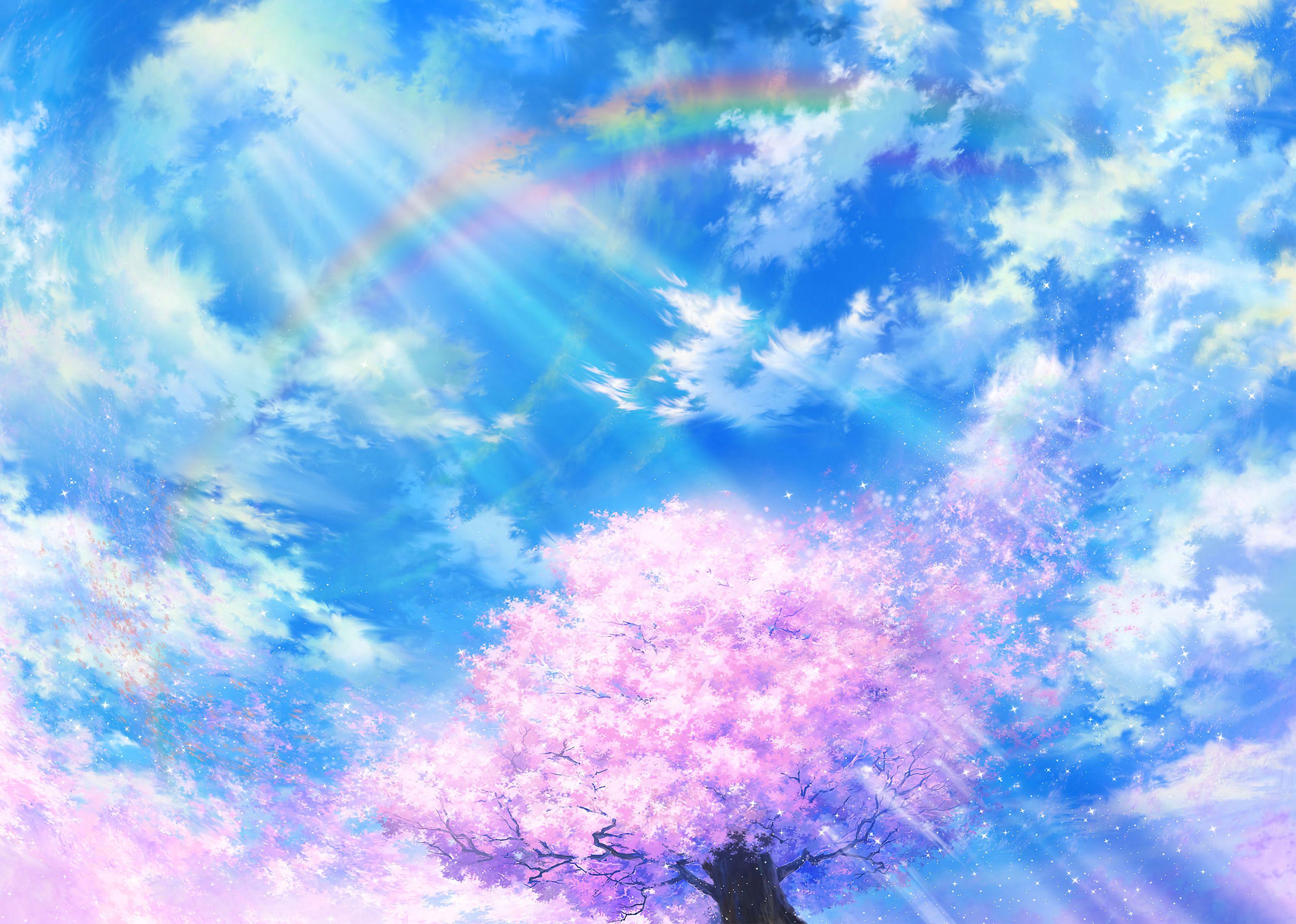 83715 Screensavers and Wallpapers Sakura for phone. Download Sakura, Sky, Art, Clouds, Rainbow, Bloom, Flowering pictures for free