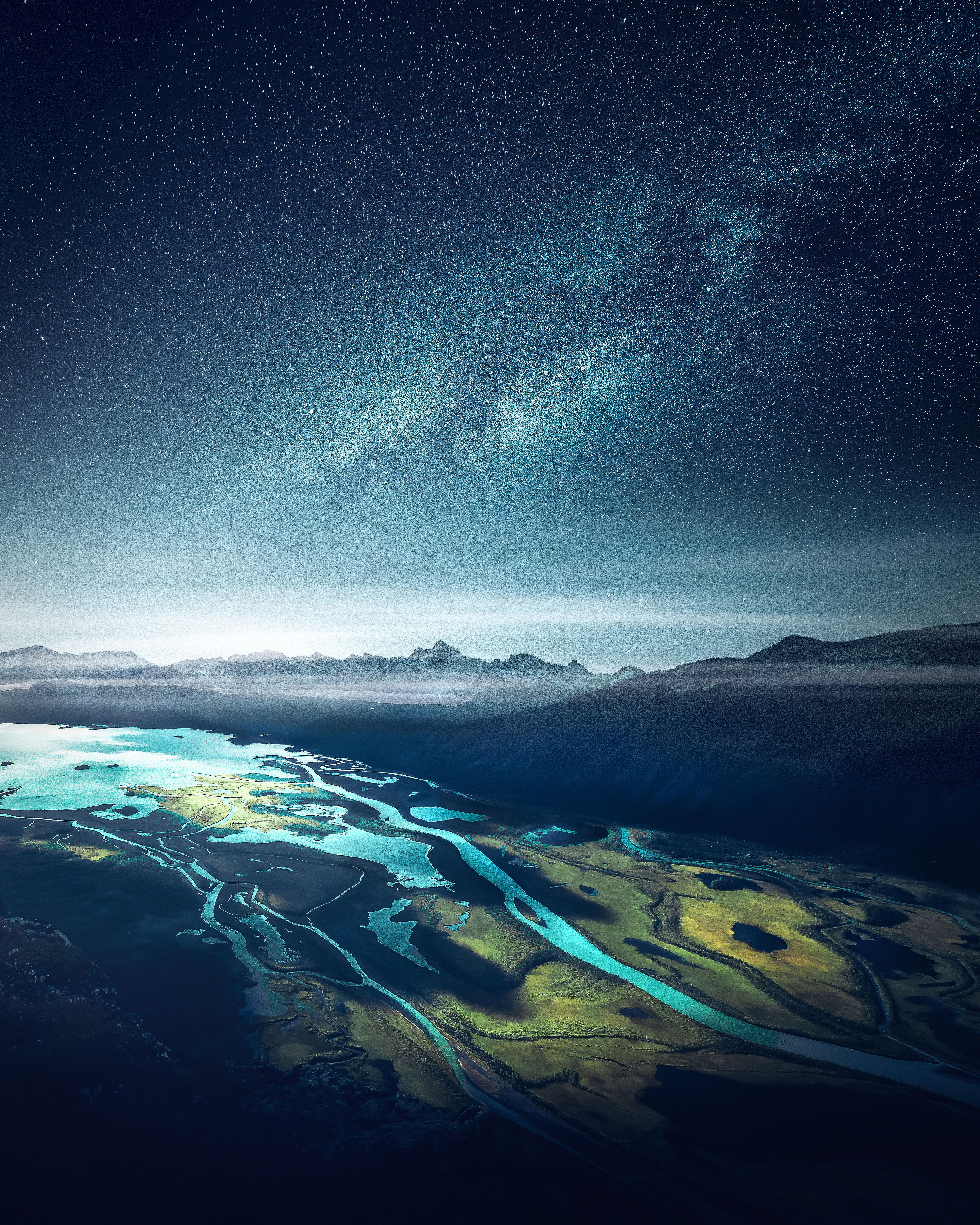 84382 Hintergrundbild herunterladen Ford, Natur, Mountains, Sternenhimmel, Mündung, Die Bucht, Fjord, Fiord - Bildschirmschoner und Bilder kostenlos