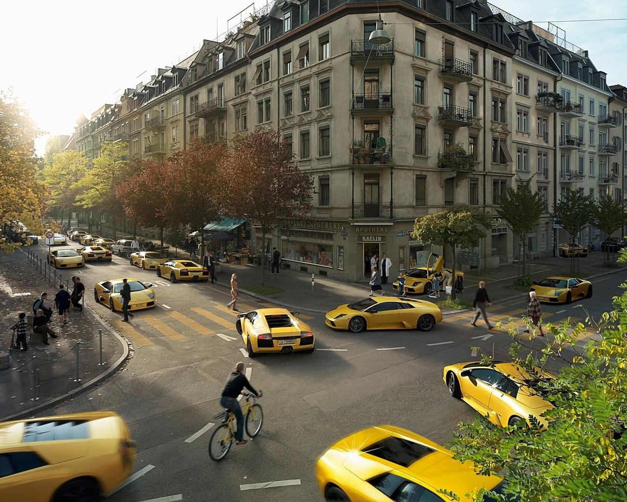 4178 скачать обои Транспорт, Пейзаж, Города, Машины, Улицы, Ламборджини (Lamborghini) - заставки и картинки бесплатно