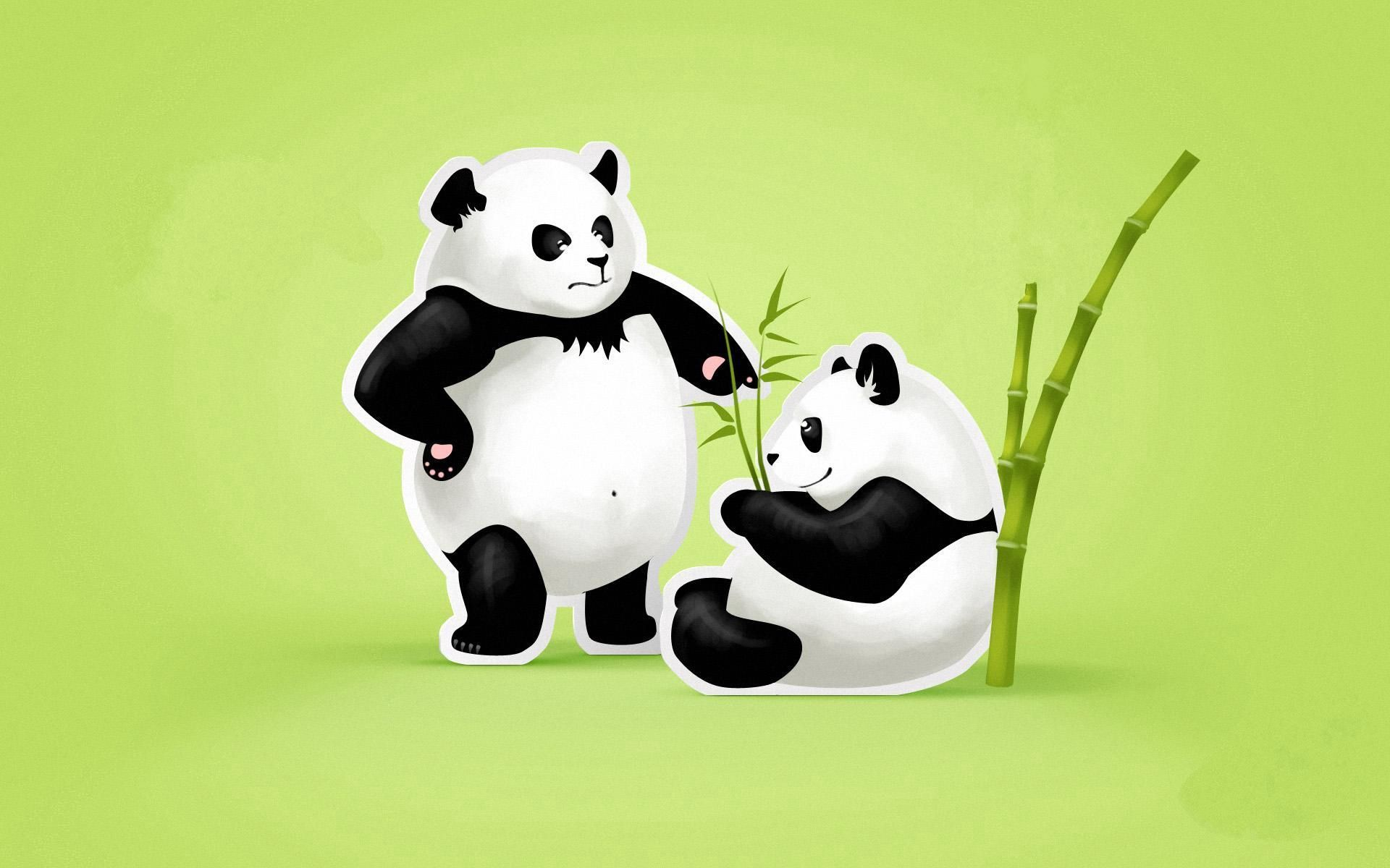 76525 download wallpaper Vector, Couple, Pair, Threat, Quarrel, Pandas screensavers and pictures for free