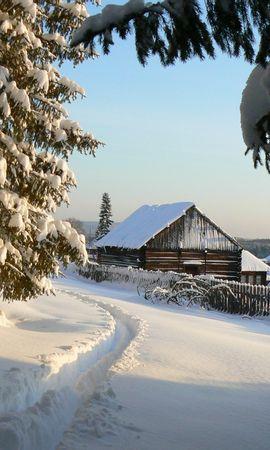 13526 скачать обои Пейзаж, Зима, Дома, Деревья, Снег - заставки и картинки бесплатно