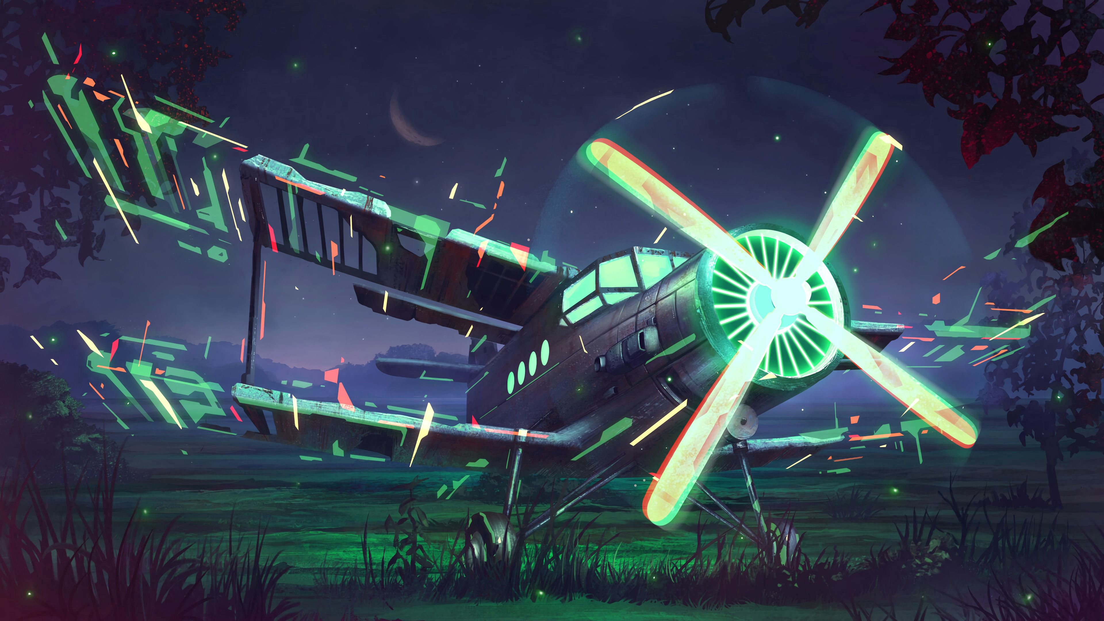 109436 Screensavers and Wallpapers Night for phone. Download Plane, Airplane, Propeller, Art, Glow, Night pictures for free