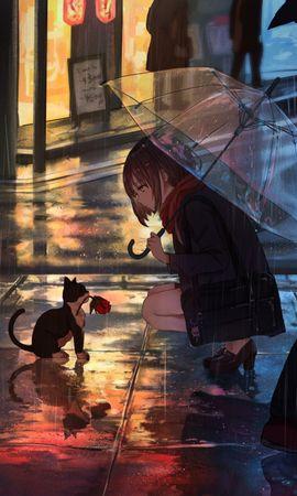 99456 download wallpaper Girl, Kitty, Kitten, Flower, Anime, Street, Rain screensavers and pictures for free