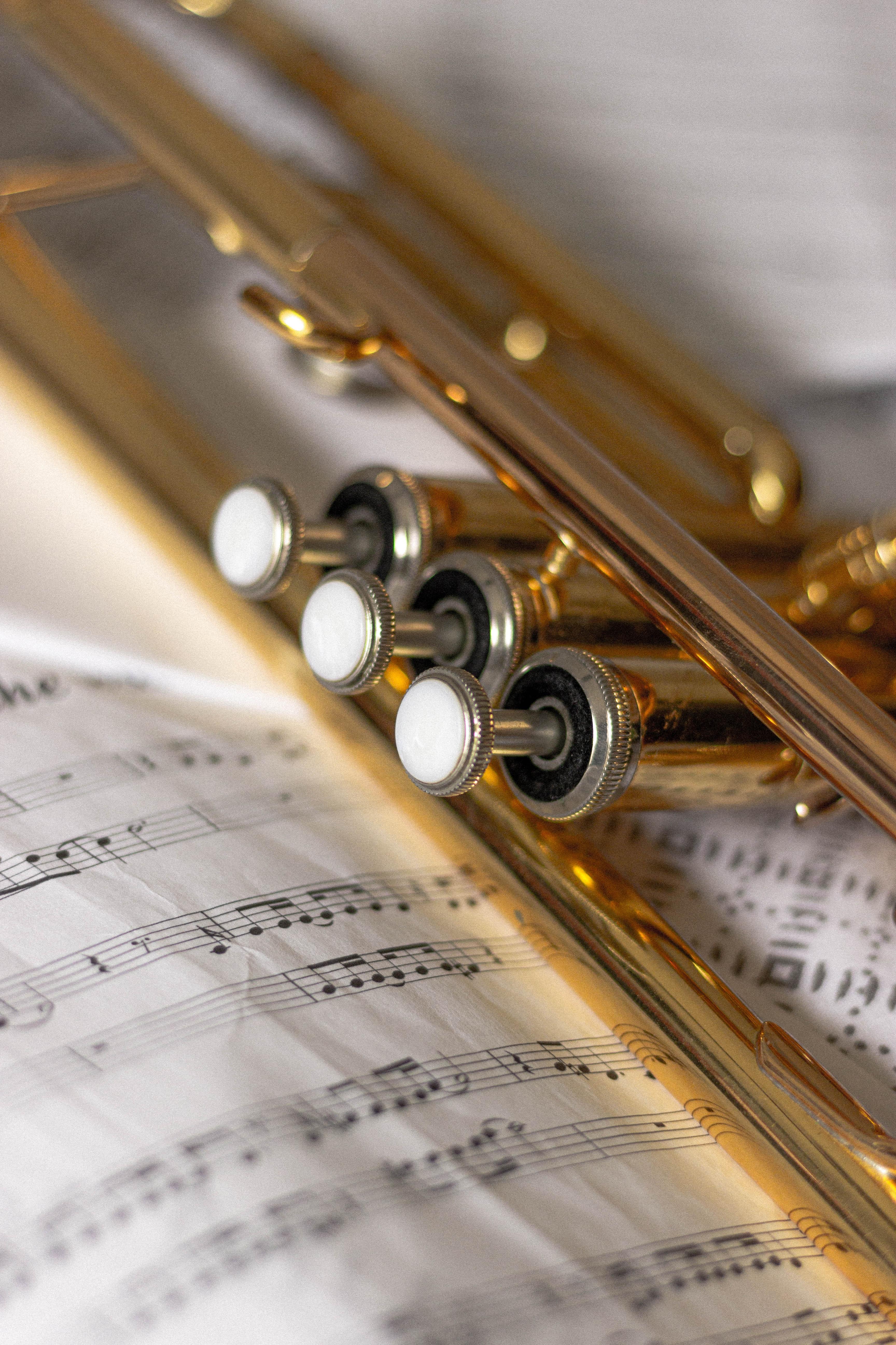 67466 Hintergrundbild herunterladen Musik, Musikinstrument, Trompete, Rohr, Anmerkungen - Bildschirmschoner und Bilder kostenlos