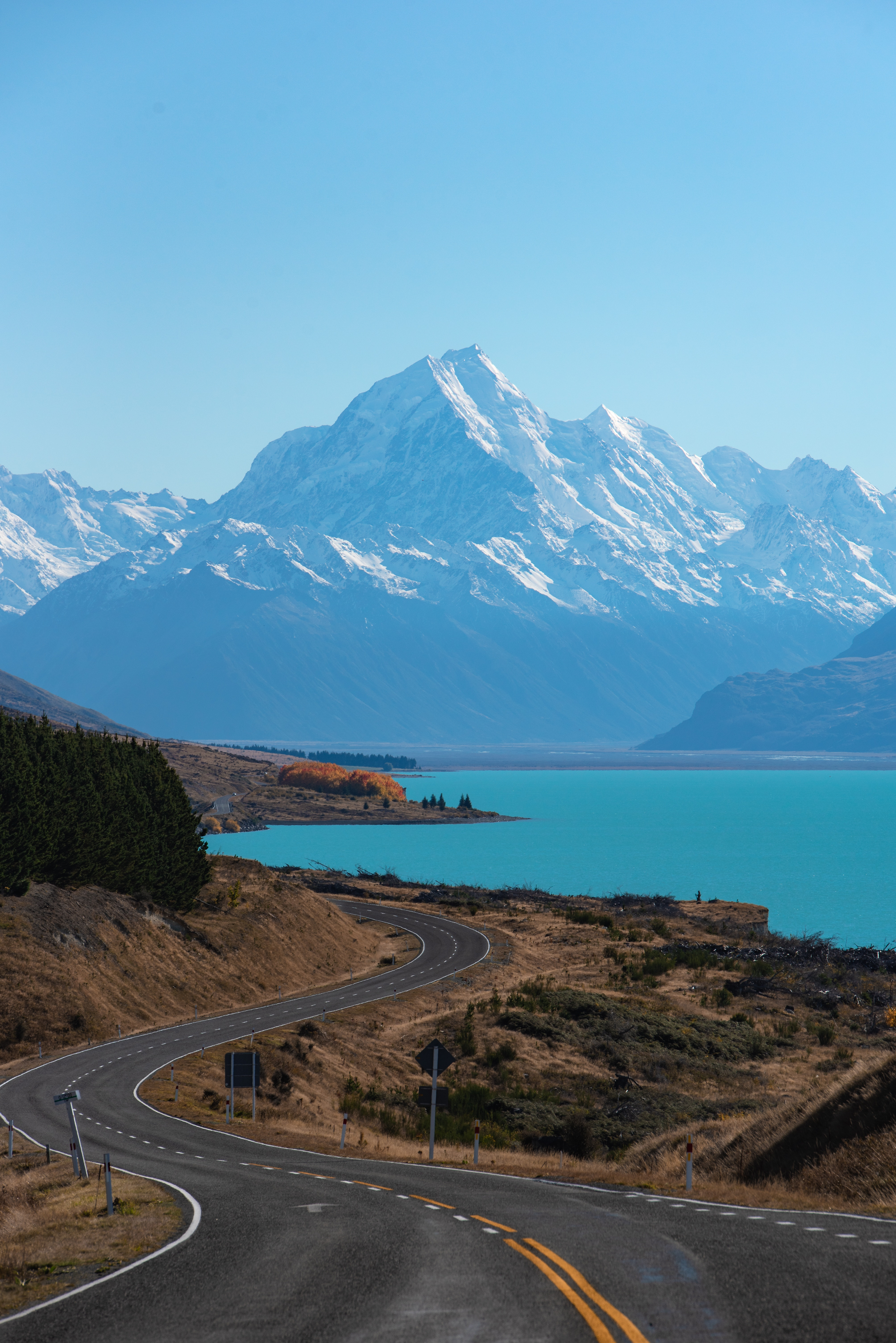 116727 Screensavers and Wallpapers New Zealand for phone. Download Nature, Mountains, New Zealand, Road, Turn, Lake Pukaki pictures for free