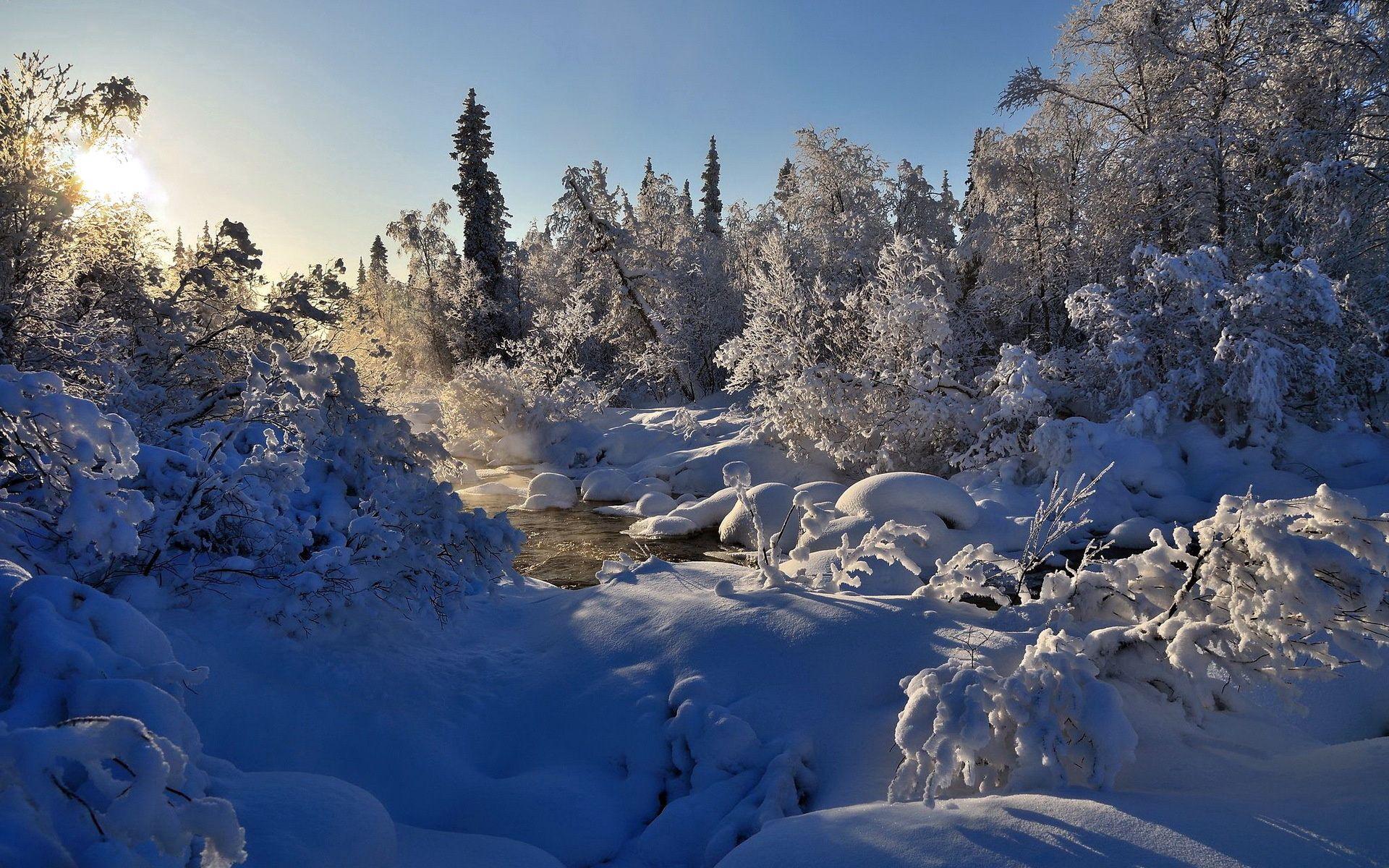 111101 Hintergrundbild herunterladen Schnee, Winterreifen, Natur, Flüsse, Bäume, Dampf - Bildschirmschoner und Bilder kostenlos