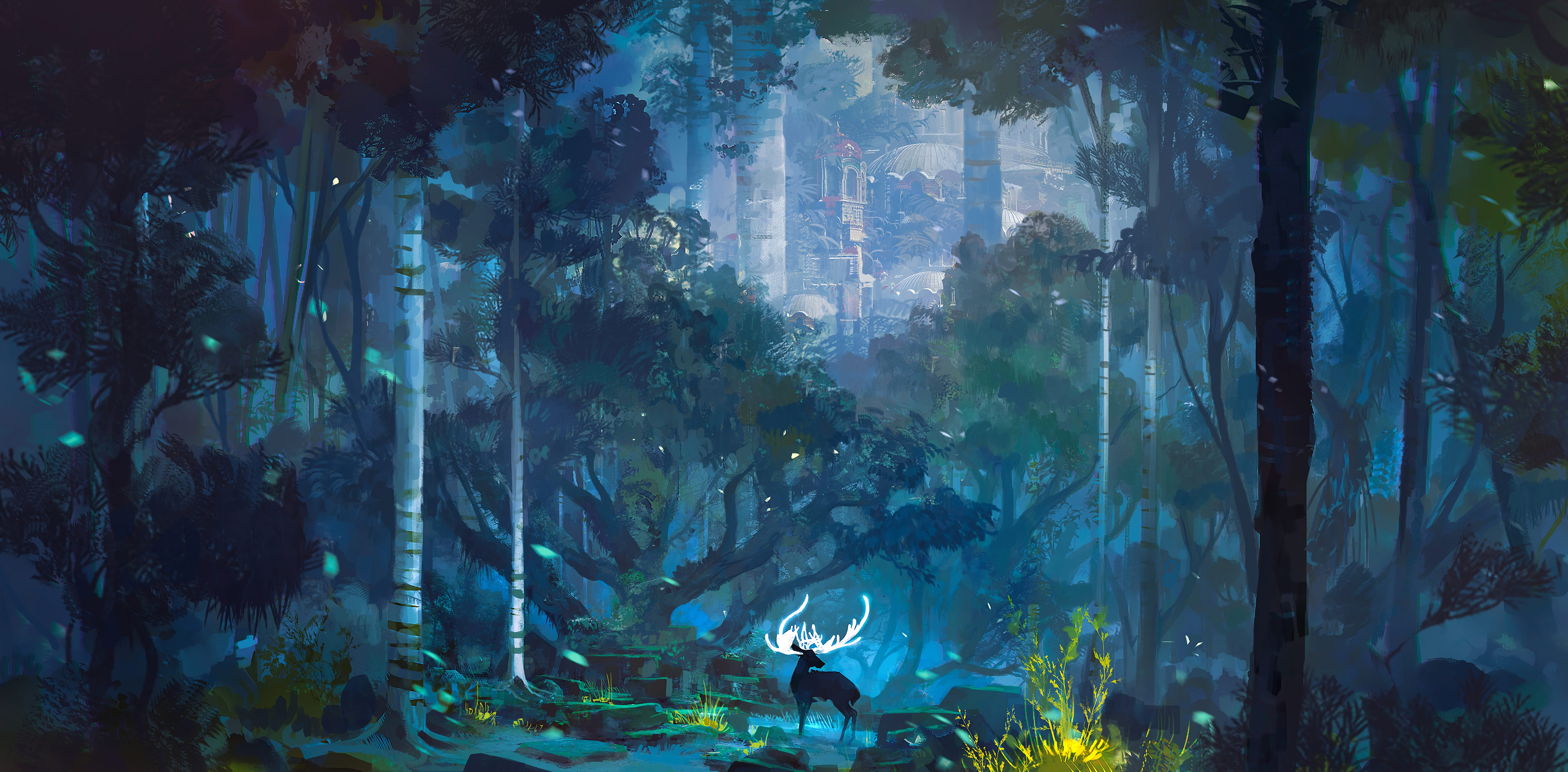 66309 Screensavers and Wallpapers Fantasy for phone. Download Deer, Horns, Fantasy, Lock, Art, Landscape pictures for free