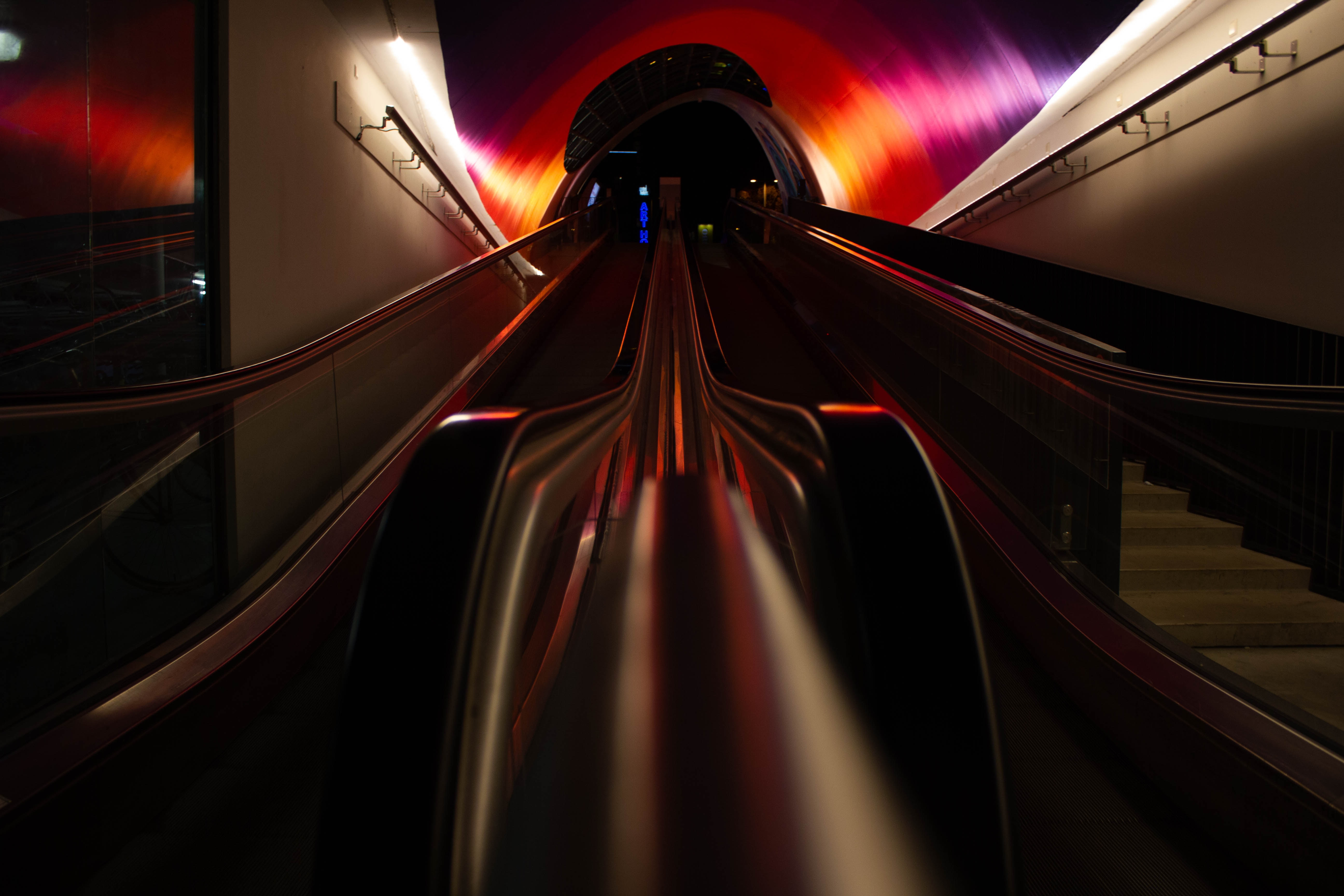 129414 Screensavers and Wallpapers Metro for phone. Download Dark, Miscellanea, Miscellaneous, Tunnel, Underground, Metro, Subway, Escalator pictures for free