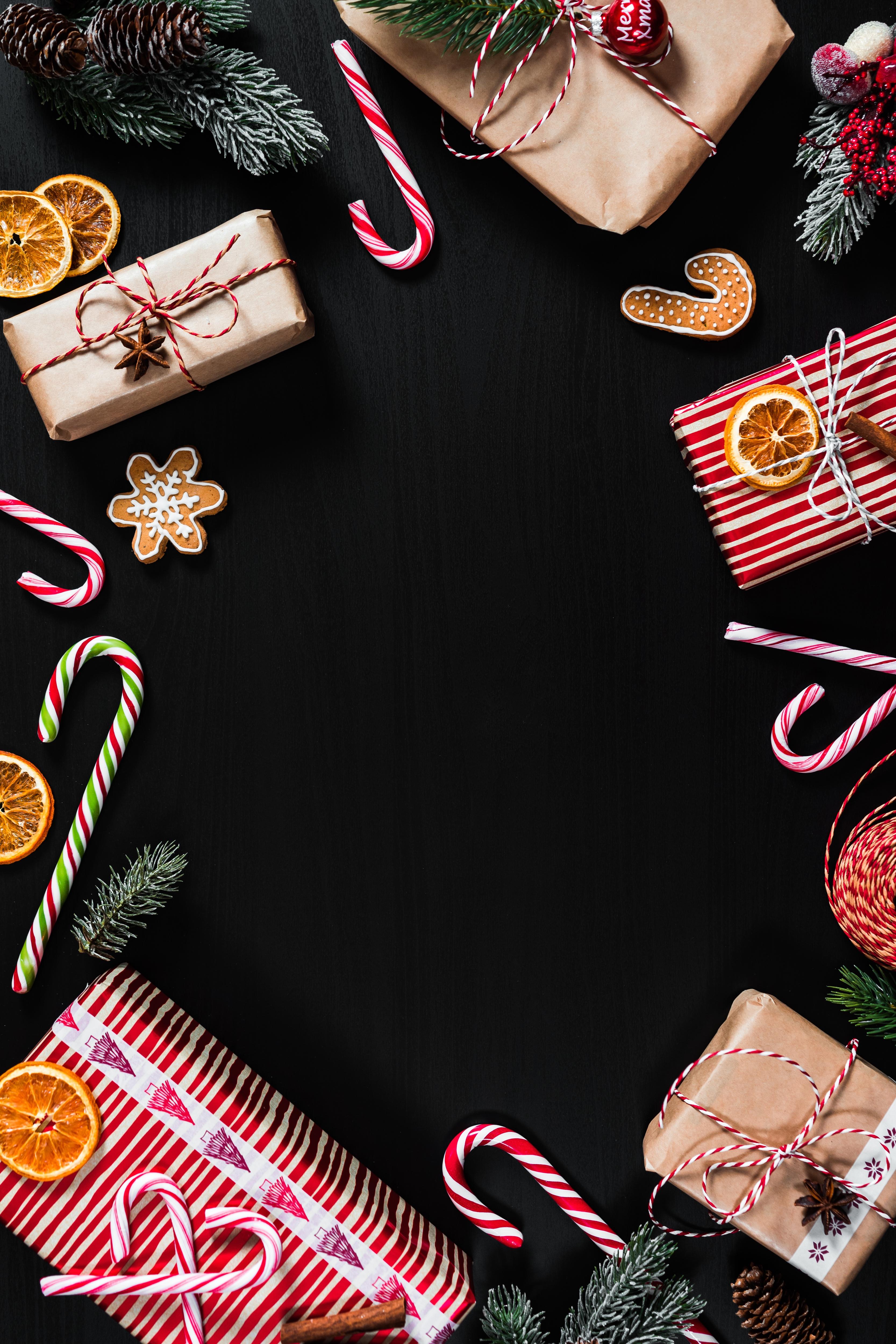152461 Salvapantallas y fondos de pantalla Año Nuevo en tu teléfono. Descarga imágenes de Vacaciones, Presenta, Regalos, Navidad, Año Nuevo, Piruletas, Marco gratis