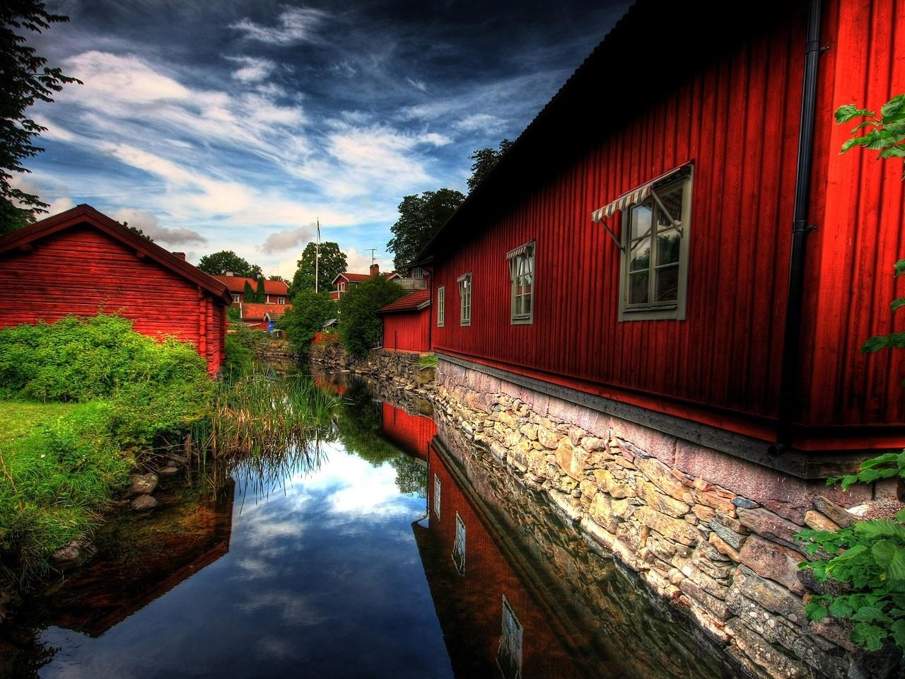 15133 скачать обои Пейзаж, Вода, Дома, Река, Улицы - заставки и картинки бесплатно