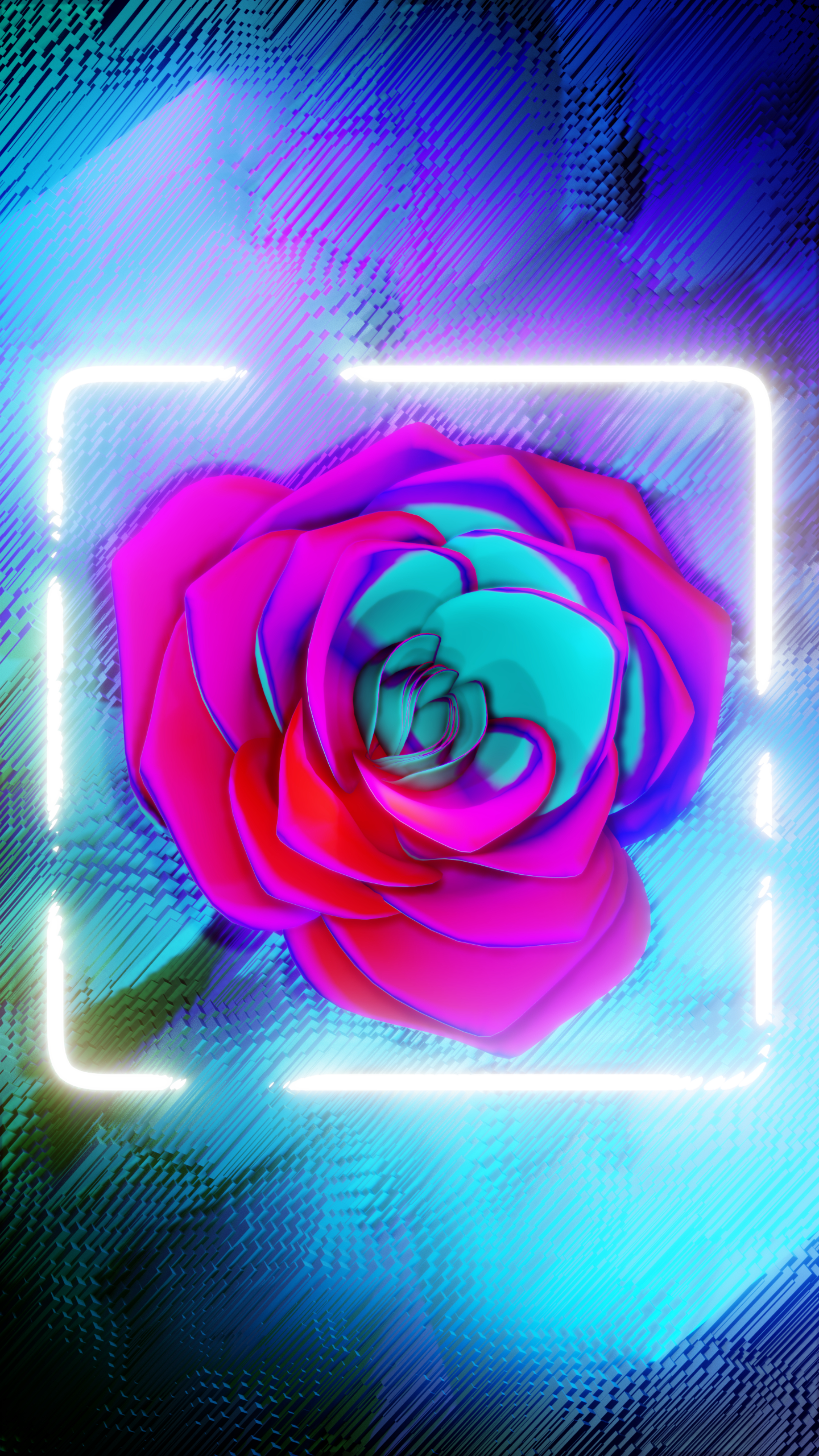 120552 download wallpaper 3D, Flower, Neon, Frame, Glow, Bright screensavers and pictures for free