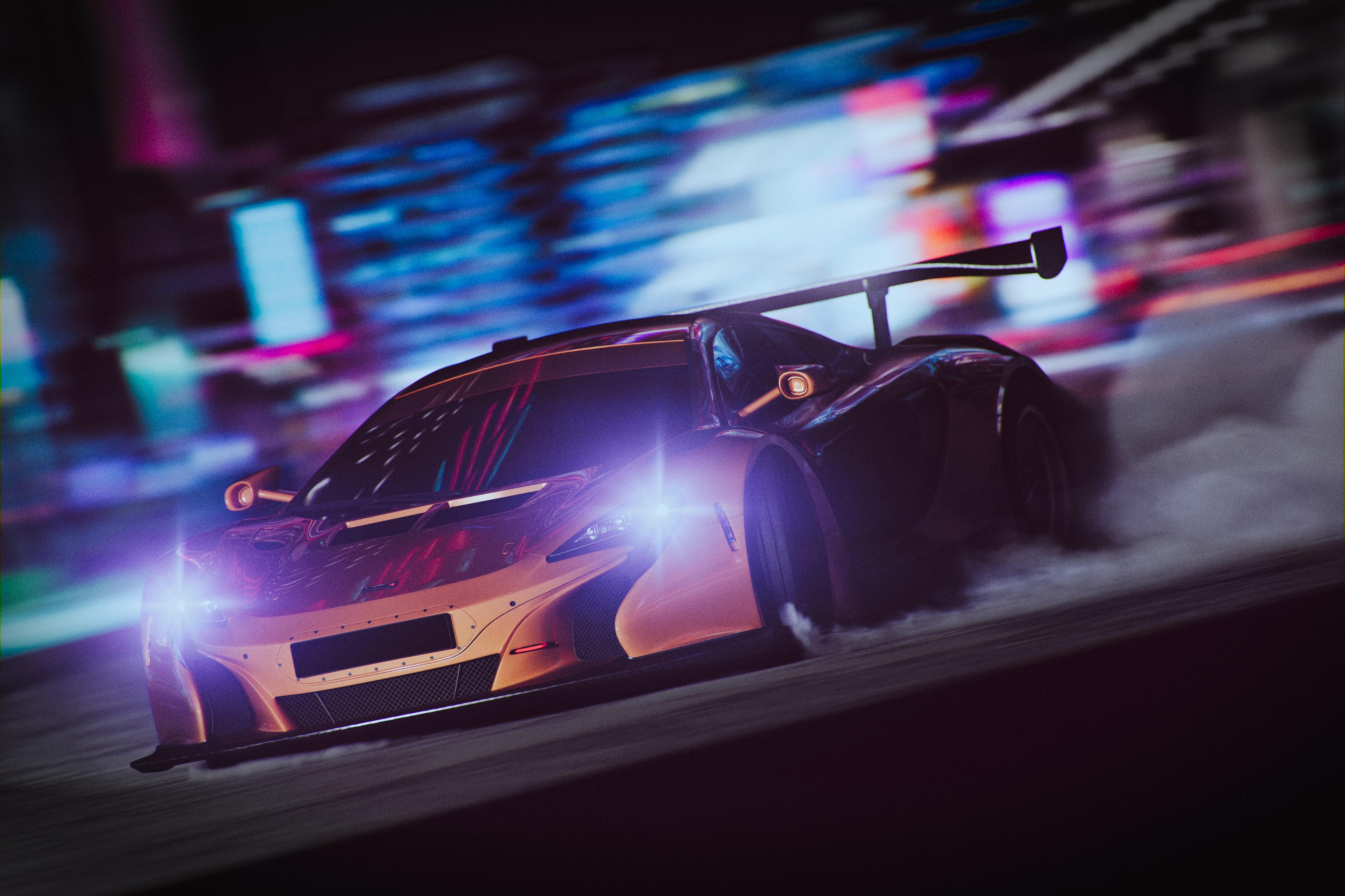 54941 download wallpaper Sports, Smoke, Night, Cars, Shine, Light, Sports Car, Speed, Drift screensavers and pictures for free