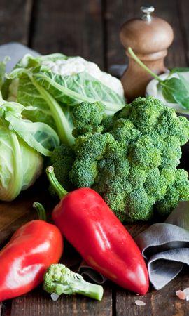 112802 télécharger le fond d'écran Nourriture, Brocoli, Chou, Légumes, Pepper - économiseurs d'écran et images gratuitement