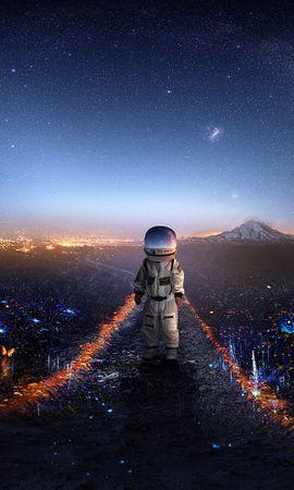 94742壁紙のダウンロード宇宙飛行士, コスモノート, アート, 宇宙, 銀河, スター-スクリーンセーバーと写真を無料で