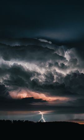 110812 Screensavers and Wallpapers Dark for phone. Download Dark, Lightning, Storm, Thunderstorm, Mainly Cloudy, Overcast, Clouds, Sky pictures for free