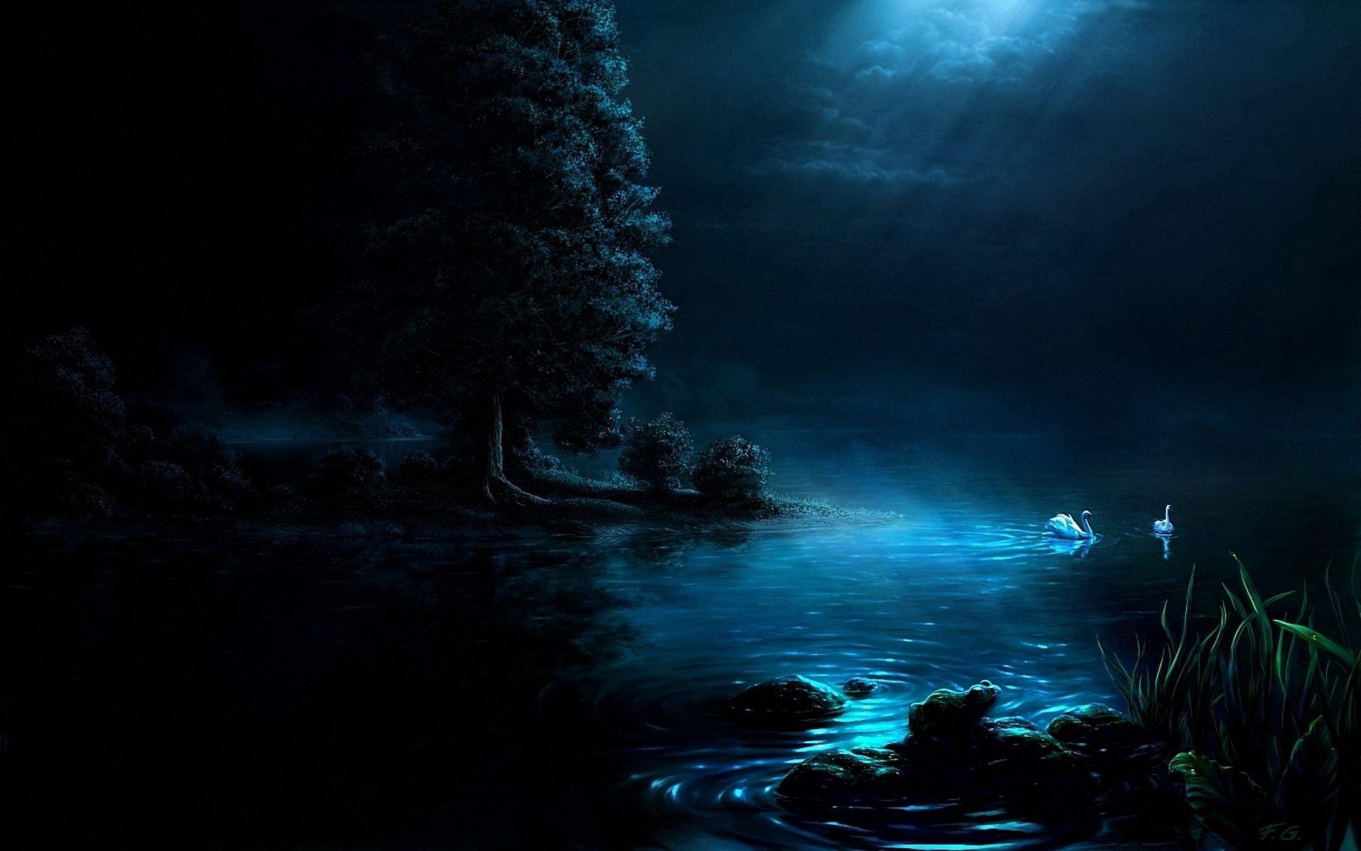 156442 Hintergrundbild herunterladen Bäume, Kunst, Swans, Dunkel, Scheinen, Licht, Der Park, Park, Malerei, Teich - Bildschirmschoner und Bilder kostenlos