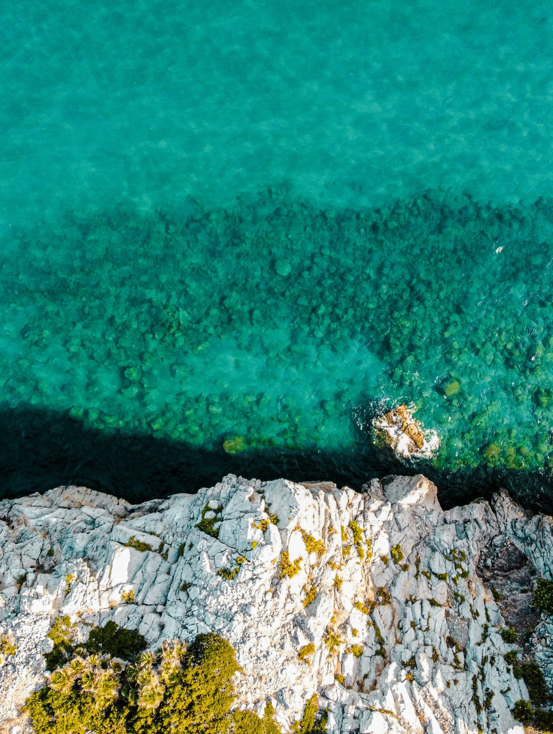 74791 download wallpaper Nature, Water, Sea, Rocks, View From Above, Coast screensavers and pictures for free