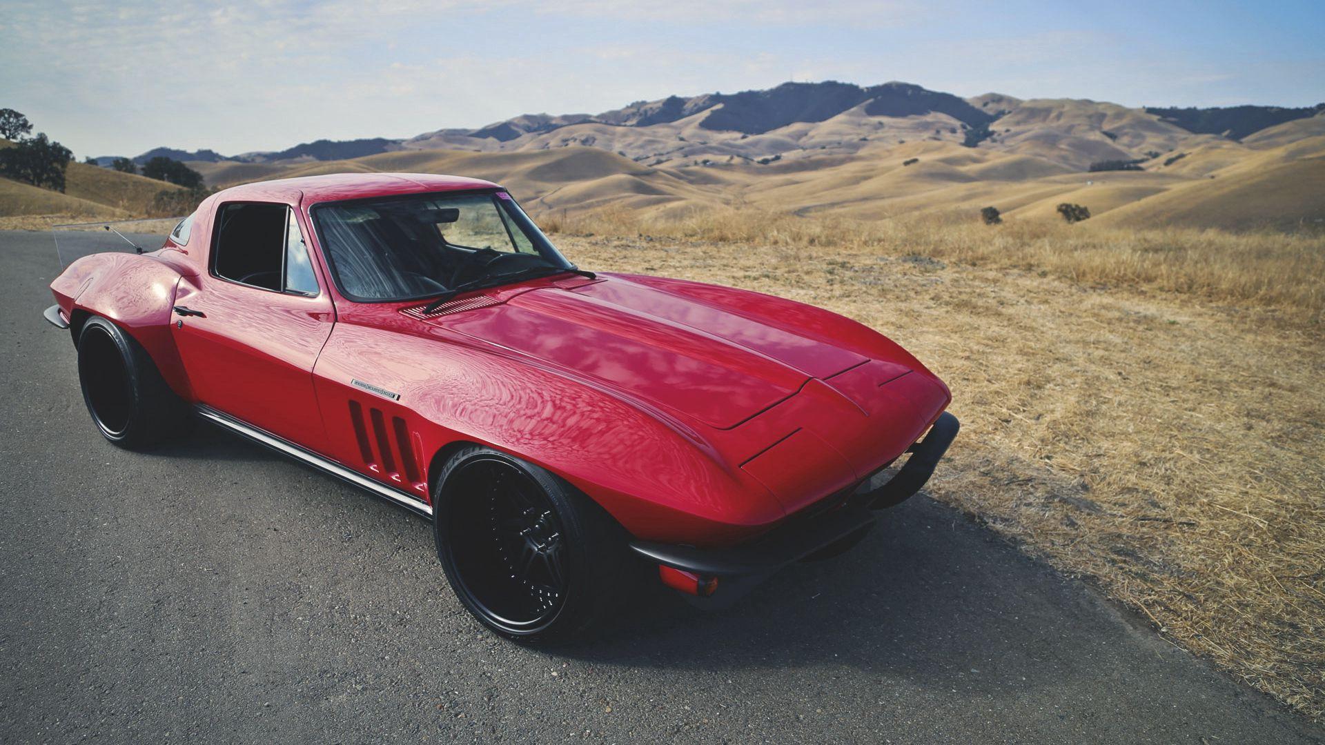 134899 скачать обои Тачки (Cars), Красный, Вид Сбоку, Corvette, C2, Restomod - заставки и картинки бесплатно