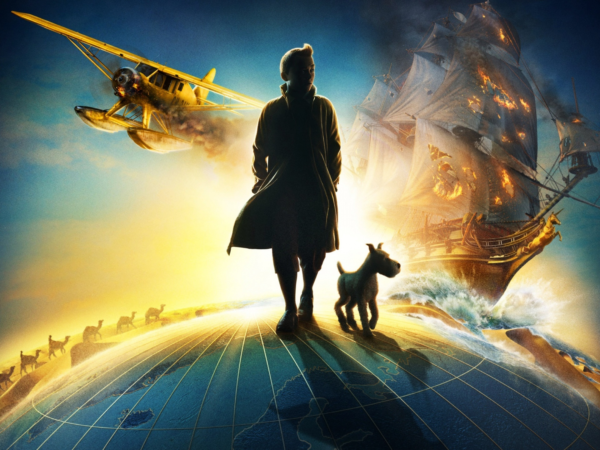 14744 download wallpaper Cartoon, Adventures Of Tintin screensavers and pictures for free