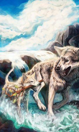 113686 baixar papel de parede Lobos, Galho, Ramo, Rios, Animais Selvagens, Vida Selvagem, Arte - protetores de tela e imagens gratuitamente