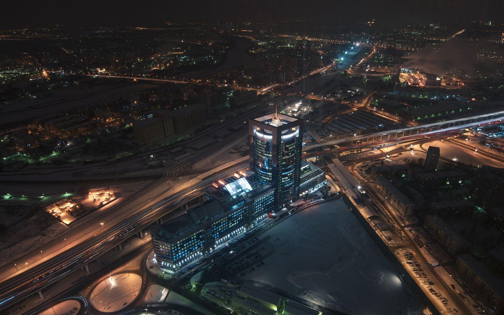 85892 скачать обои Москва, Москва-Сити, Вид Сверху, Ночь, Города - заставки и картинки бесплатно