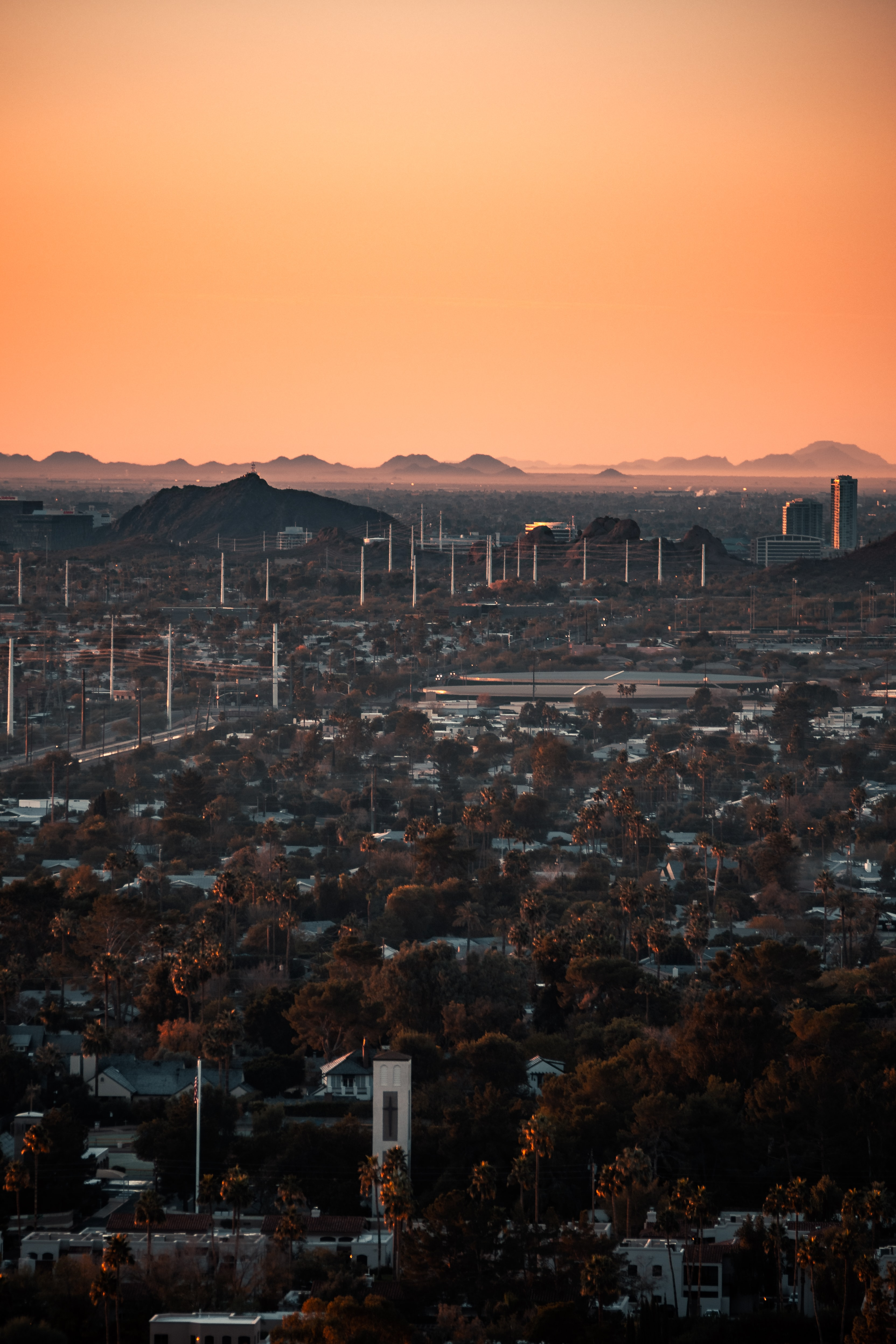 124035 download wallpaper City, Building, View From Above, Urban Landscape, Cityscape, Trees, Dusk, Twilight, Cities screensavers and pictures for free