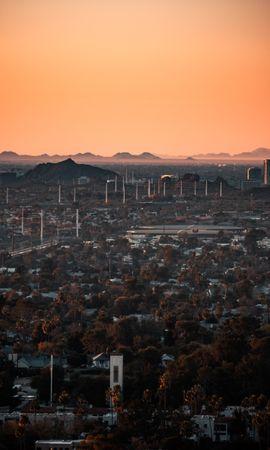 Скачать бесплатно картинку 124035: Город, Здания, Вид Сверху, Городской Пейзаж, Деревья, Сумерки, Города обои на телефон