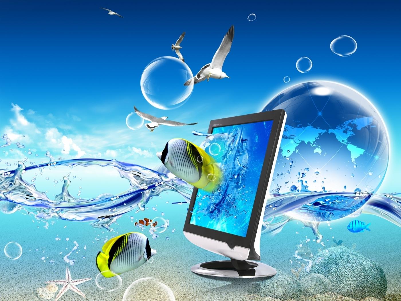 30366 Заставки и Обои Рыбы на телефон. Скачать Рыбы, Фон, Артфото, Чайки картинки бесплатно