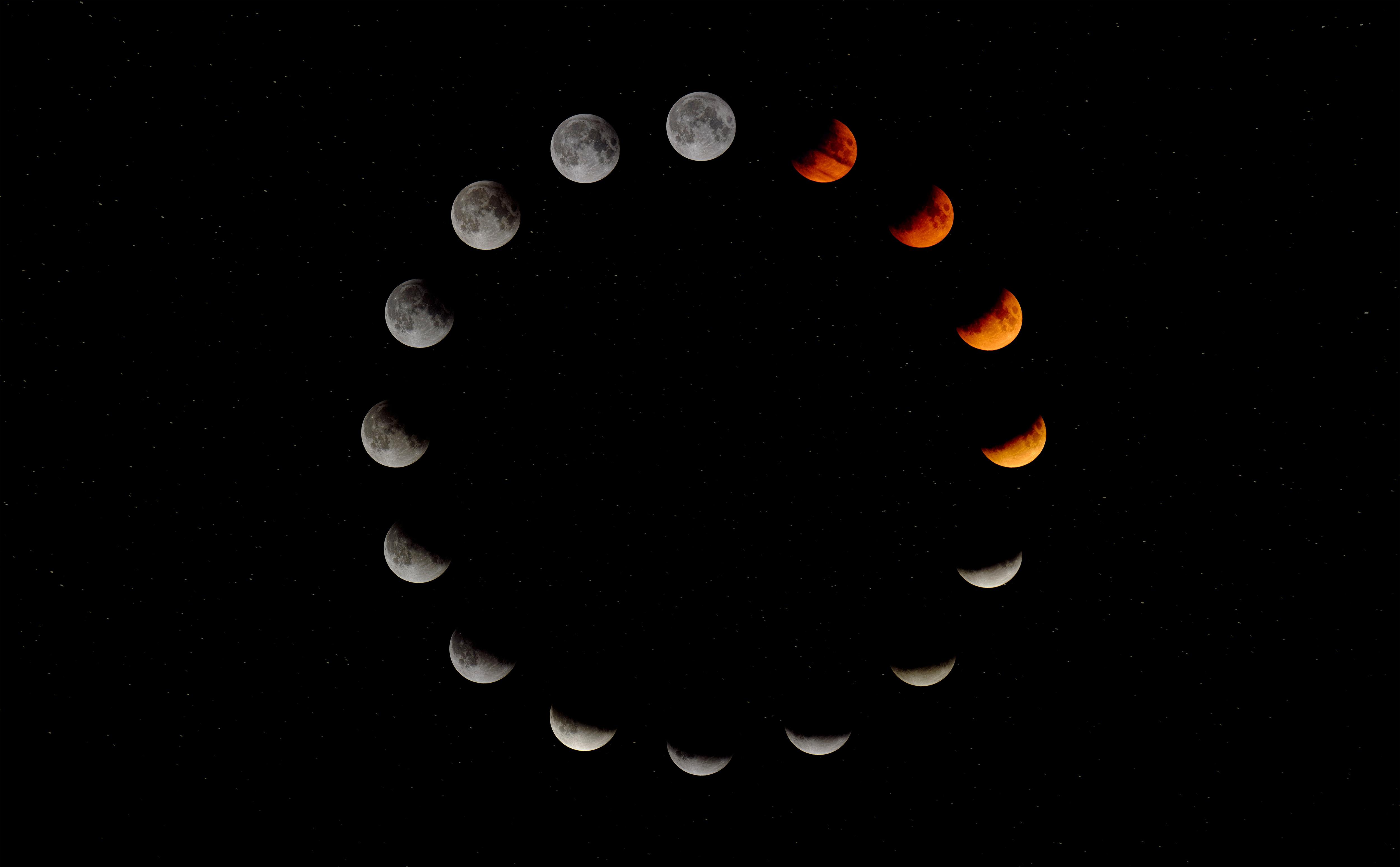 68917 скачать обои Луна, Космос, Затмение, Астрономия, Фазы, Цикл - заставки и картинки бесплатно
