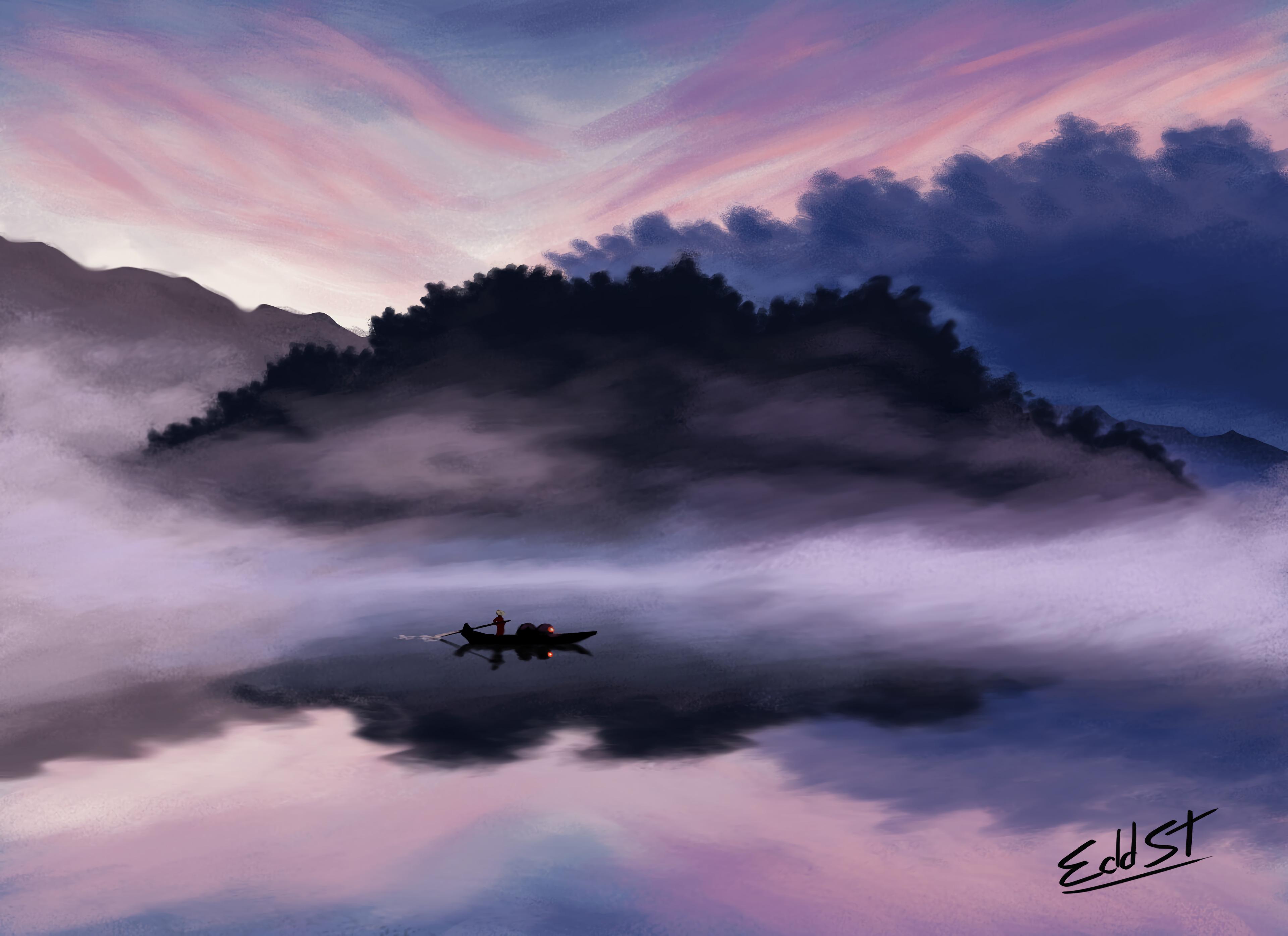 139978 скачать обои Озеро, Лодка, Человек, Сумерки, Арт - заставки и картинки бесплатно