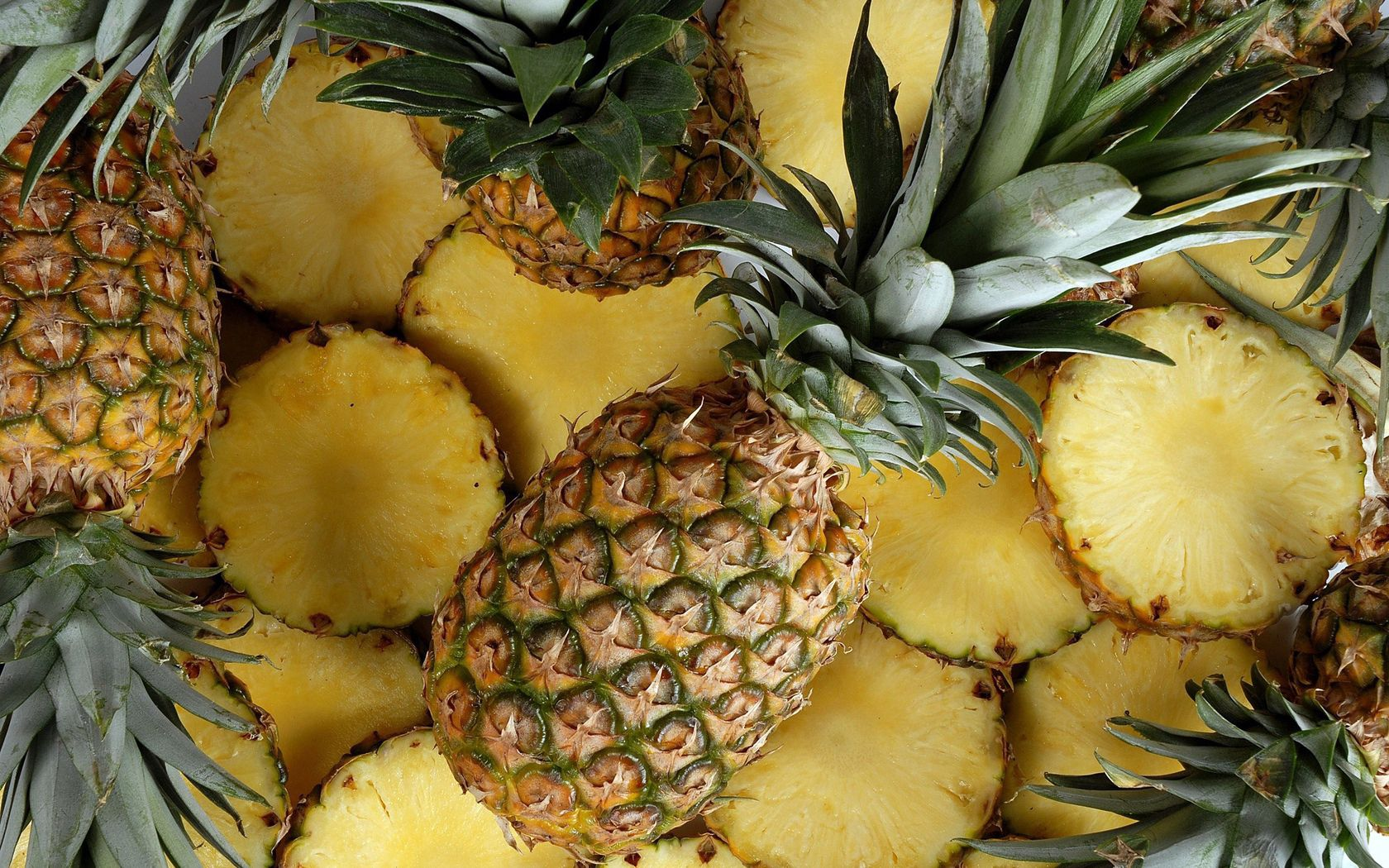 51174 download wallpaper Fruits, Food, Background, Pineapples, Lobules, Slices screensavers and pictures for free