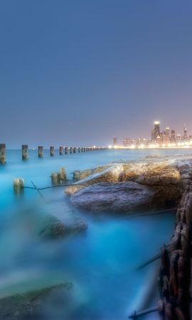 18618 скачать обои Пейзаж, Города, Море, Ночь - заставки и картинки бесплатно