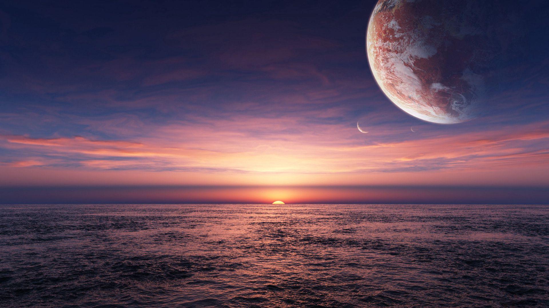 82663 скачать обои Космос, Море, Планета, Горизонт - заставки и картинки бесплатно