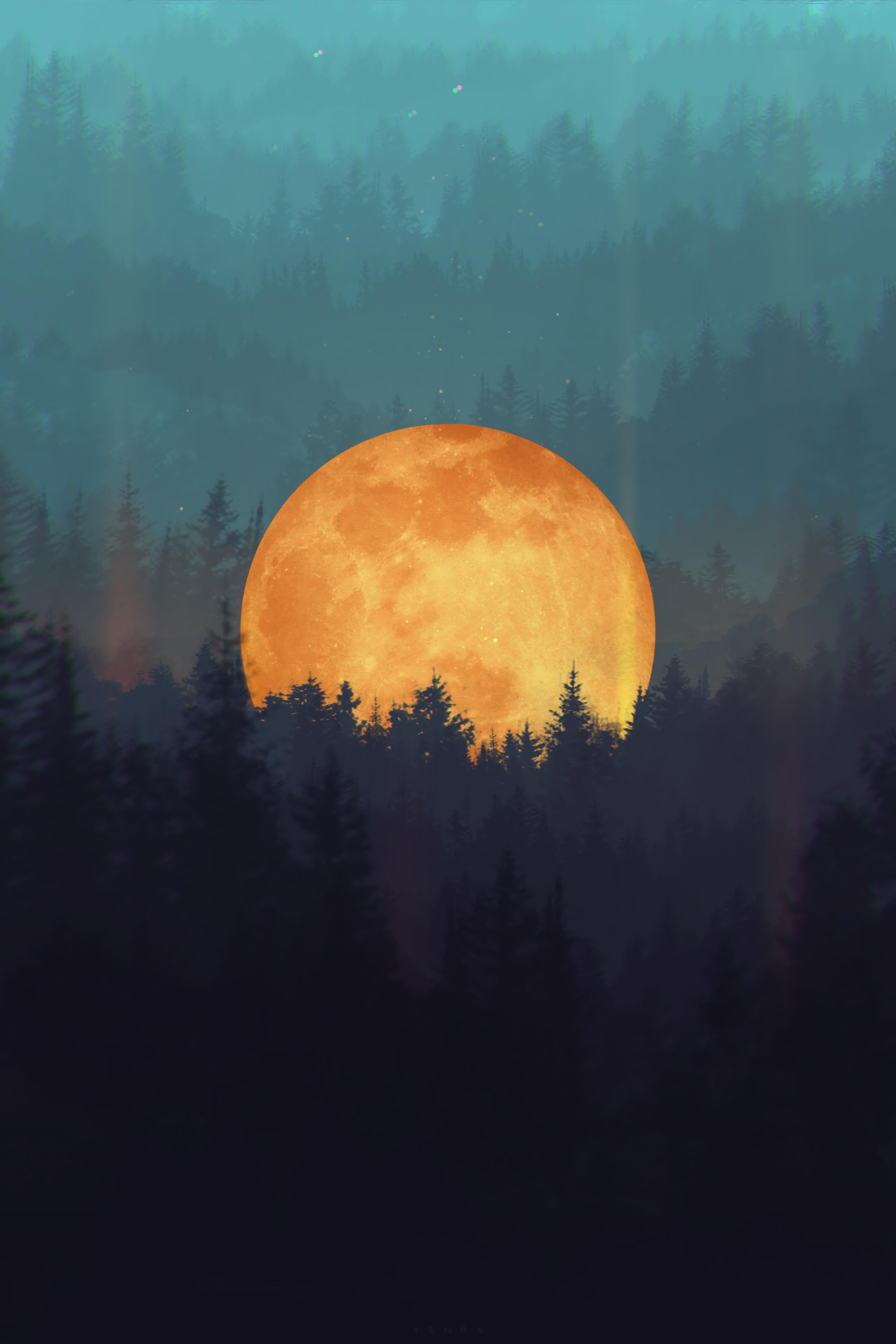 147004 скачать обои Луна, Деревья, Арт, Лес, Иллюзия - заставки и картинки бесплатно