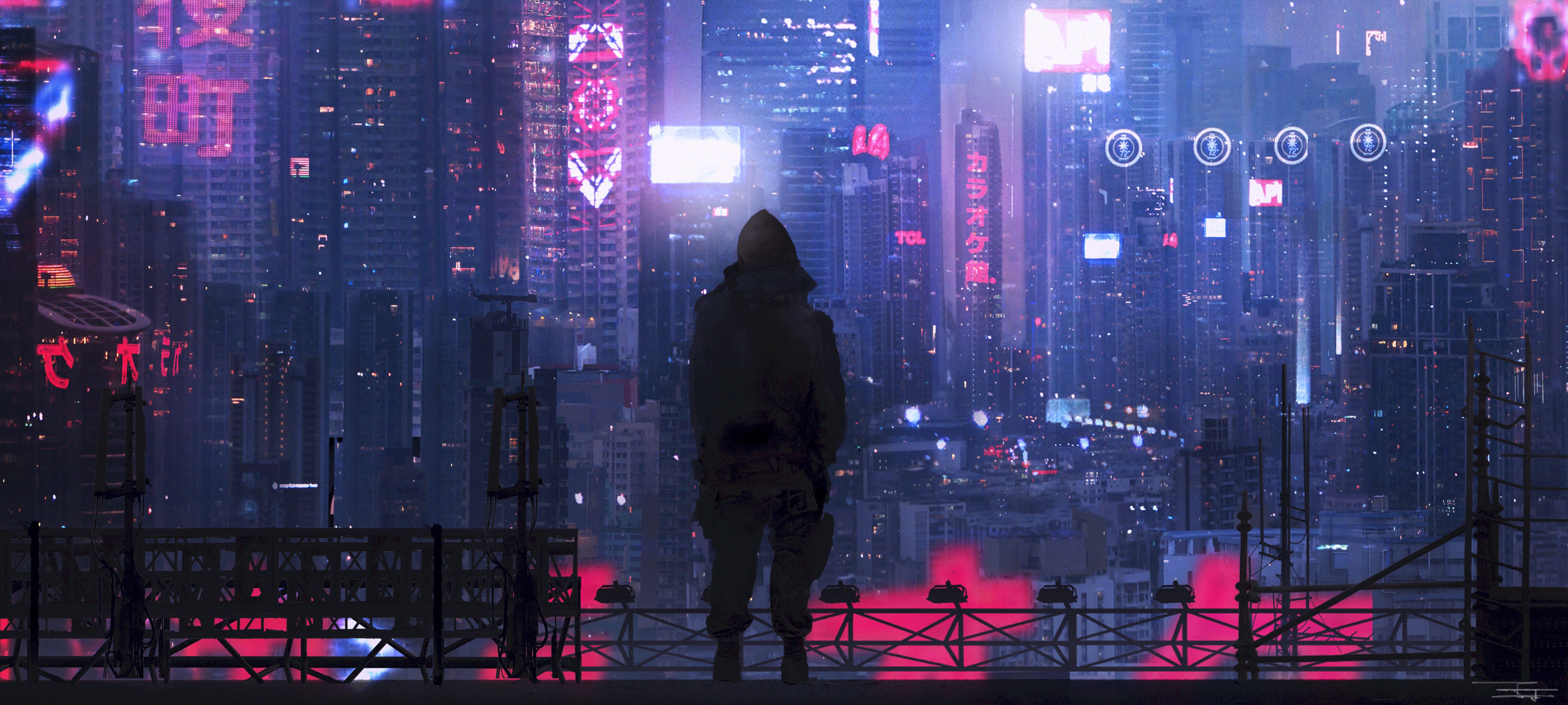 89819 download wallpaper City, Silhouette, Art, Cyberpunk, Futurism, Sci-Fi screensavers and pictures for free