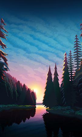 81290 скачать обои Река, Лес, Закат, Арт, Пейзаж - заставки и картинки бесплатно