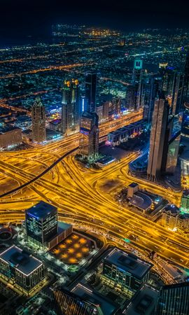 67044 Screensavers and Wallpapers Roads for phone. Download Night City, View From Above, Crossroads, Crossroad, Roads, Skyscrapers, Dubai, Cities pictures for free