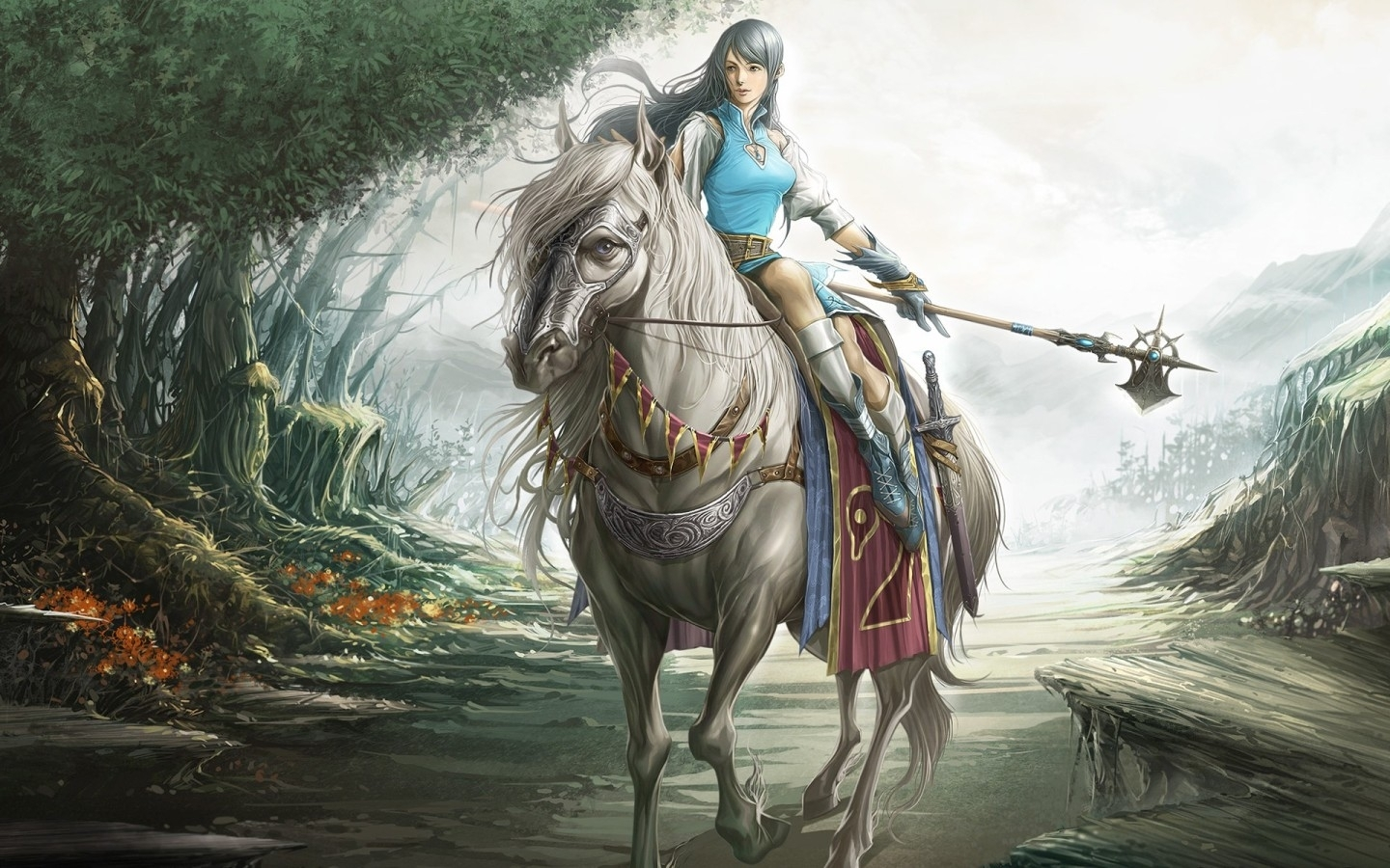 9355 download wallpaper People, Fantasy, Horses screensavers and pictures for free