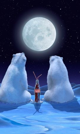 20886 download wallpaper Animals, Brands, Bears, Coca-Cola screensavers and pictures for free