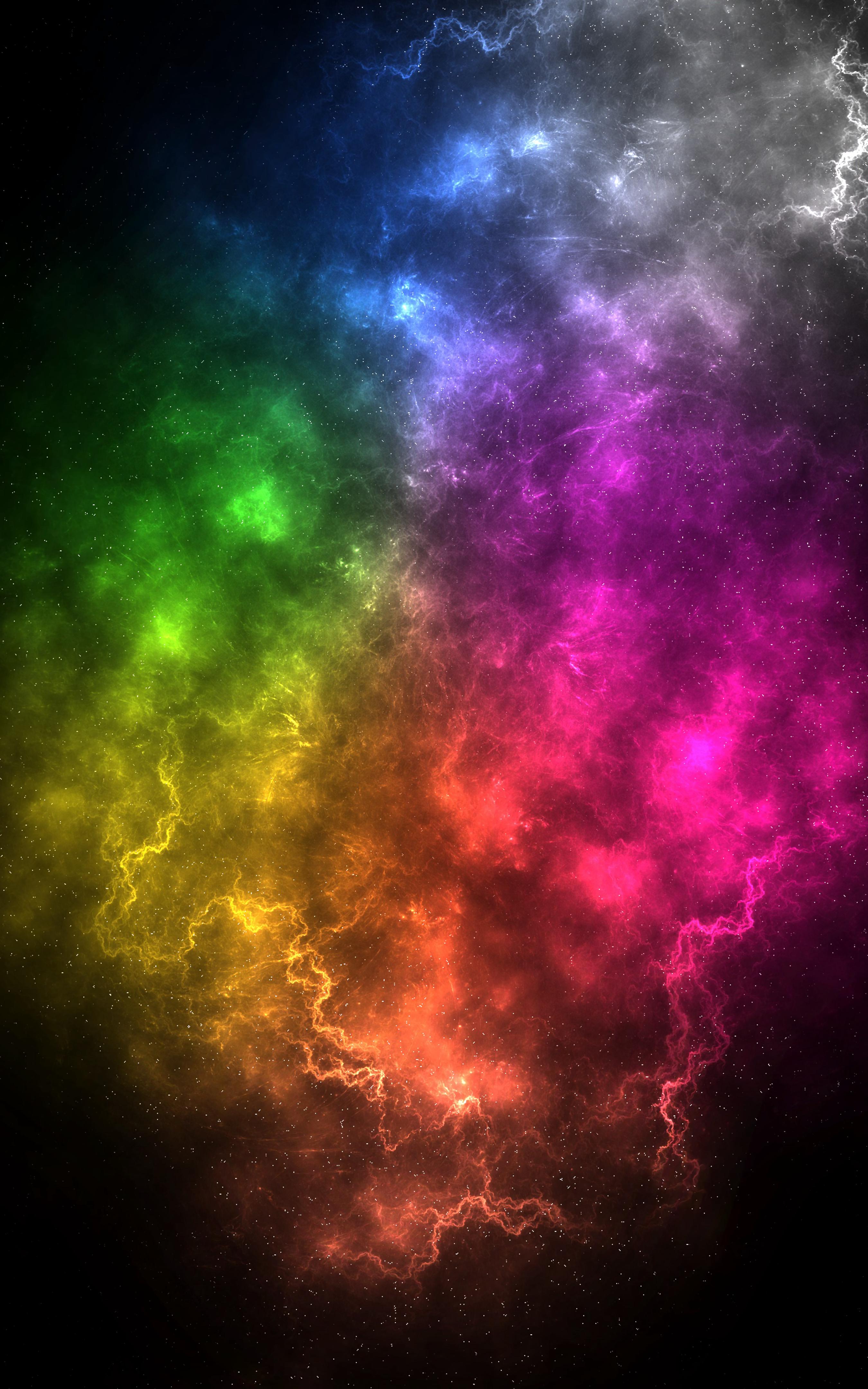 72662 скачать обои Абстракция, Молнии, Разноцветный, Туманность, Космический, Энергия, Вспышки - заставки и картинки бесплатно