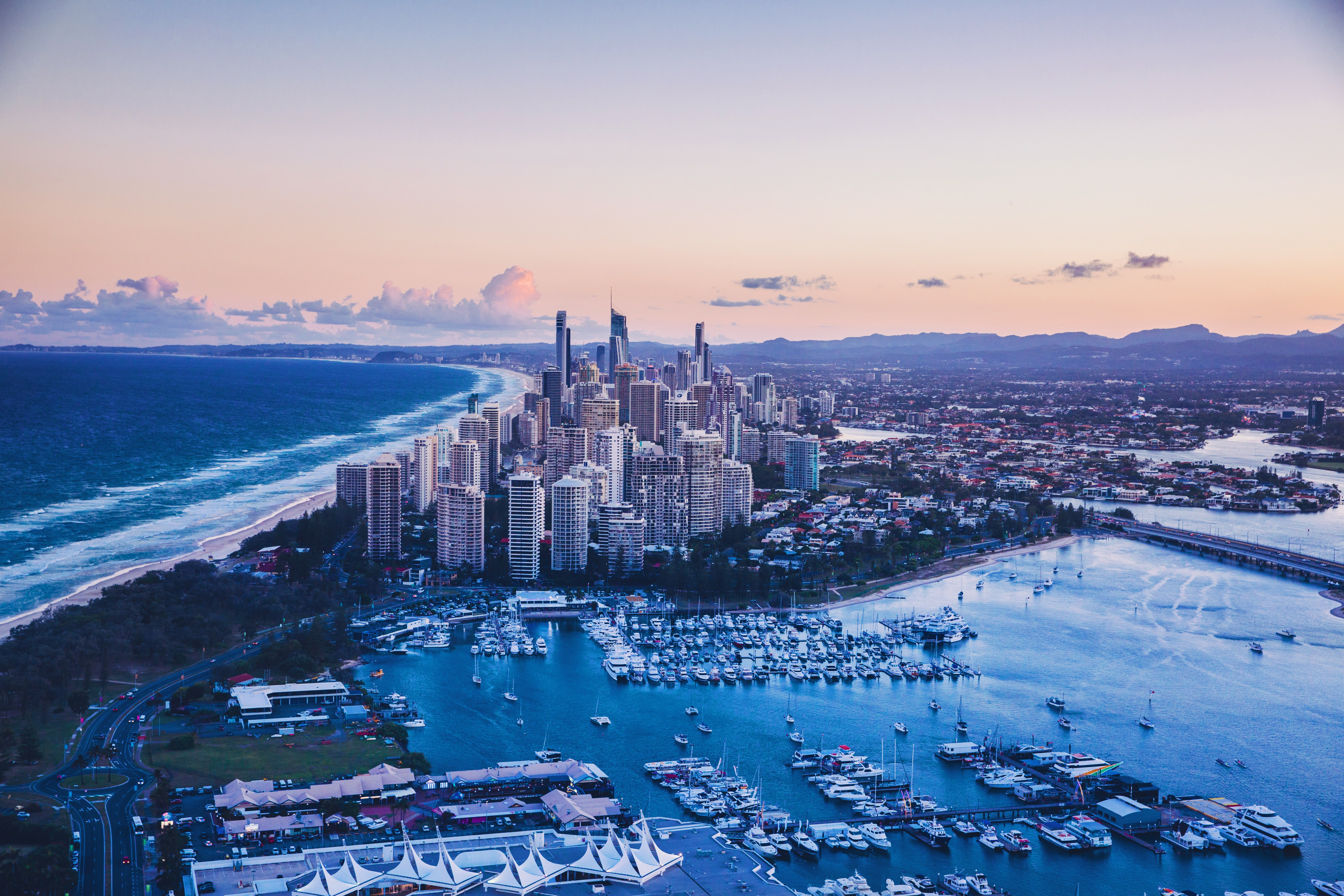 141964 download wallpaper City, View From Above, Ocean, Coast, Architecture, Cities screensavers and pictures for free