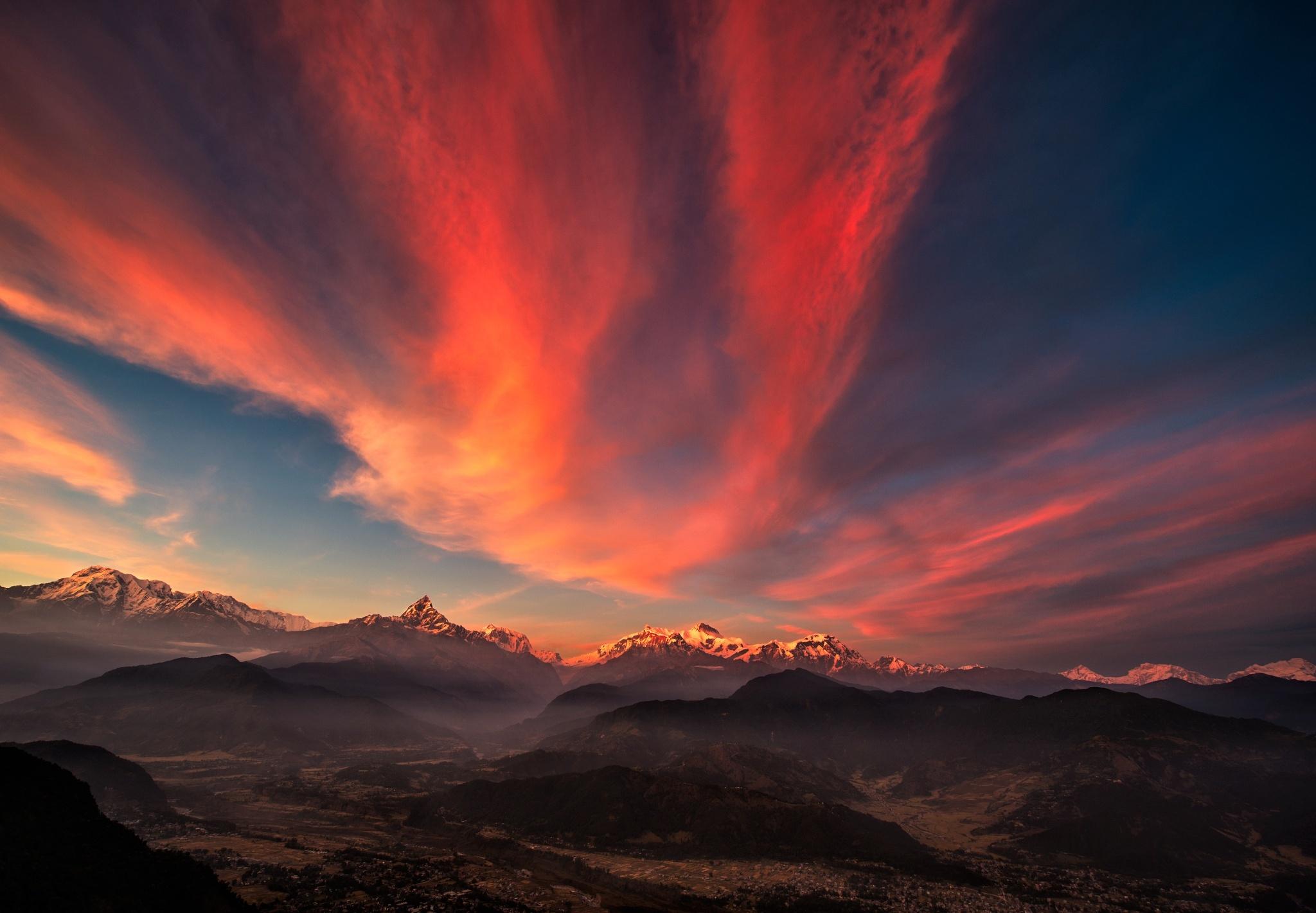 92281 télécharger le fond d'écran Sky, Nature, Coucher De Soleil, Montagnes, Panorama, Tibet - économiseurs d'écran et images gratuitement