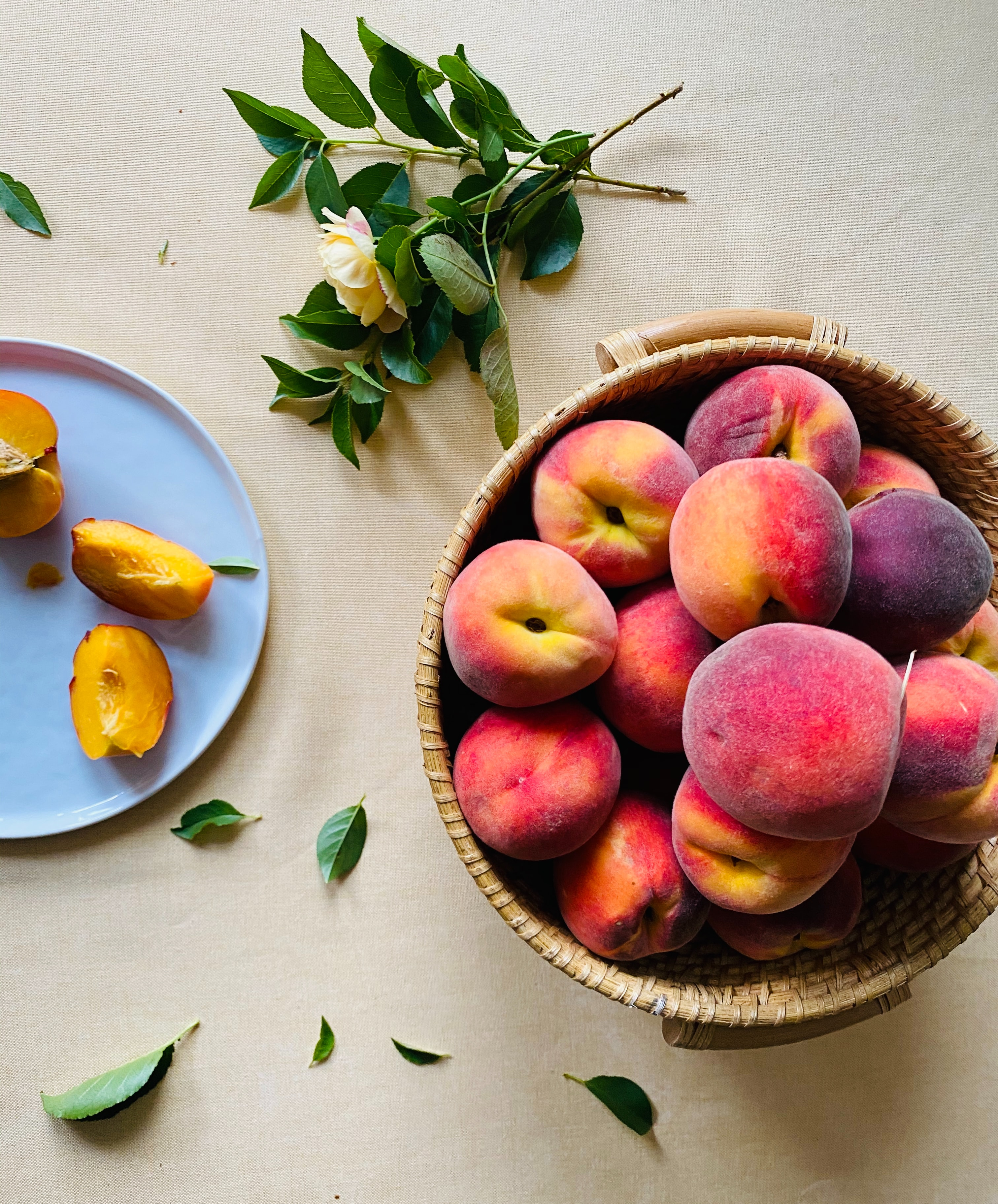 68182 download wallpaper Fruits, Food, Peaches, Rose Flower, Rose, Cloth, Lobules, Slices screensavers and pictures for free