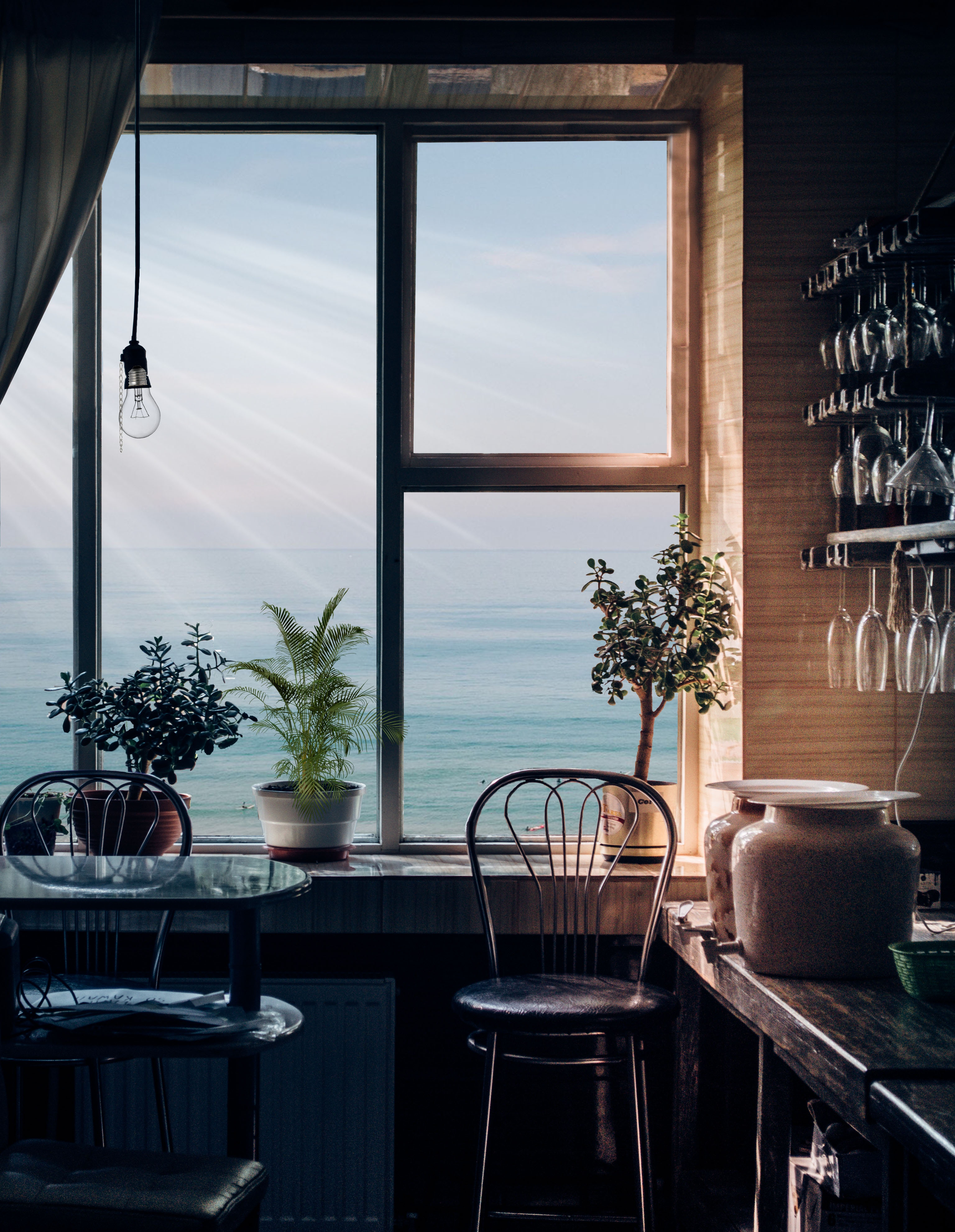 106594 download wallpaper Miscellaneous, Interior, Flowers, Miscellanea, Window, Room, View, Furniture screensavers and pictures for free