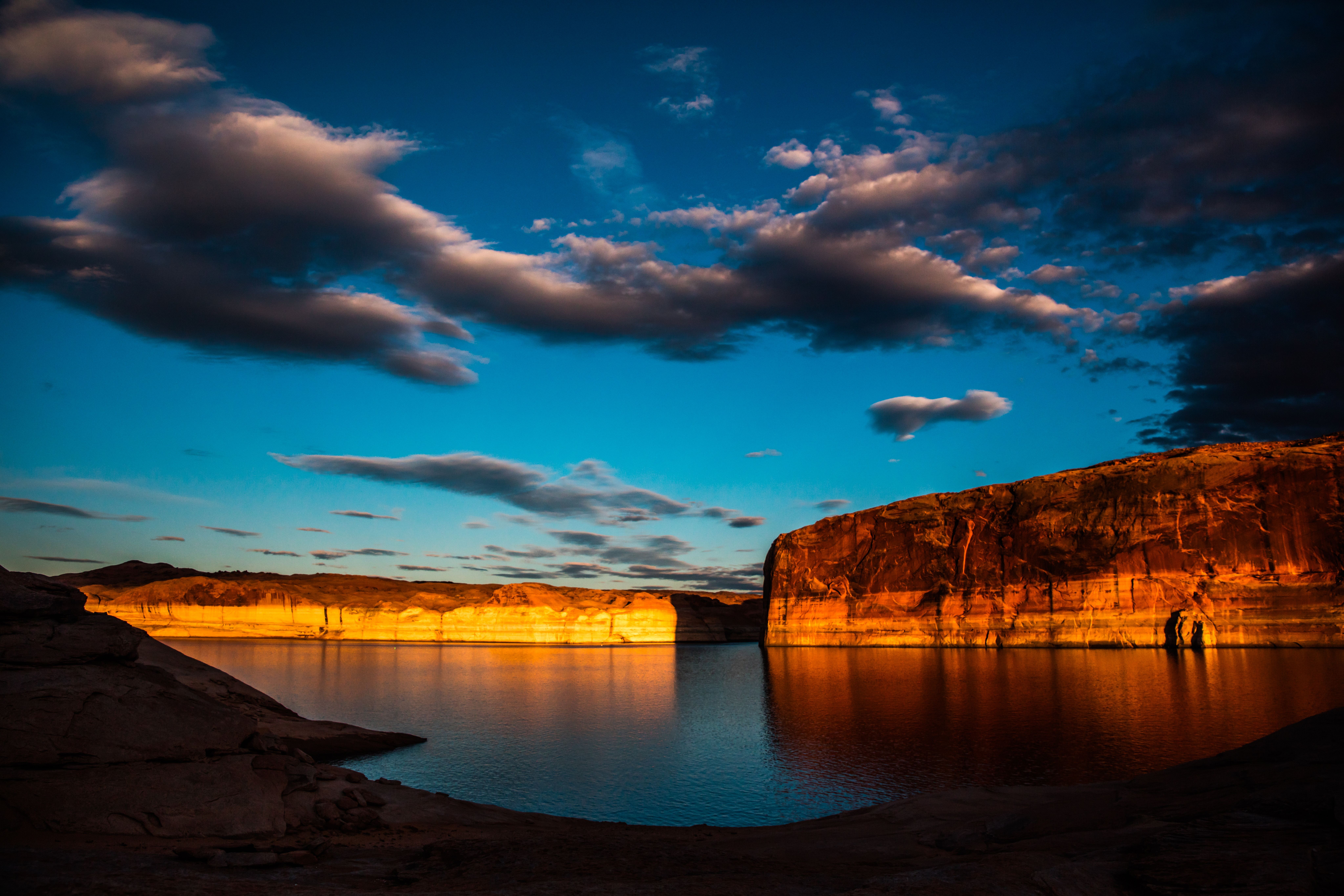 85092 download wallpaper Nature, Lake, Rocks, Canyon, Flooded, Submerged, Clouds screensavers and pictures for free