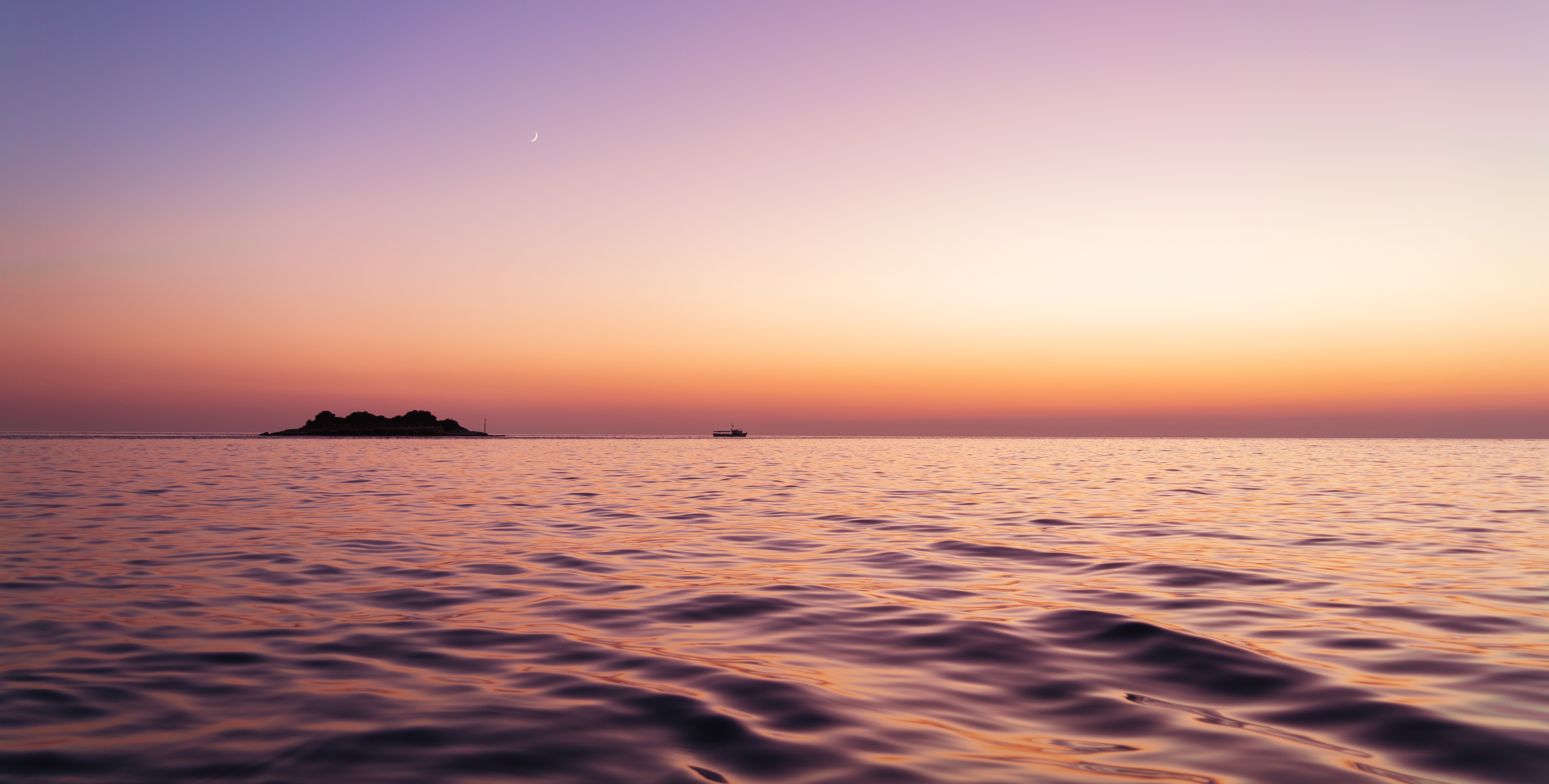 126404 download wallpaper Nature, Sea, Island, Dusk, Twilight, Water, Waves screensavers and pictures for free